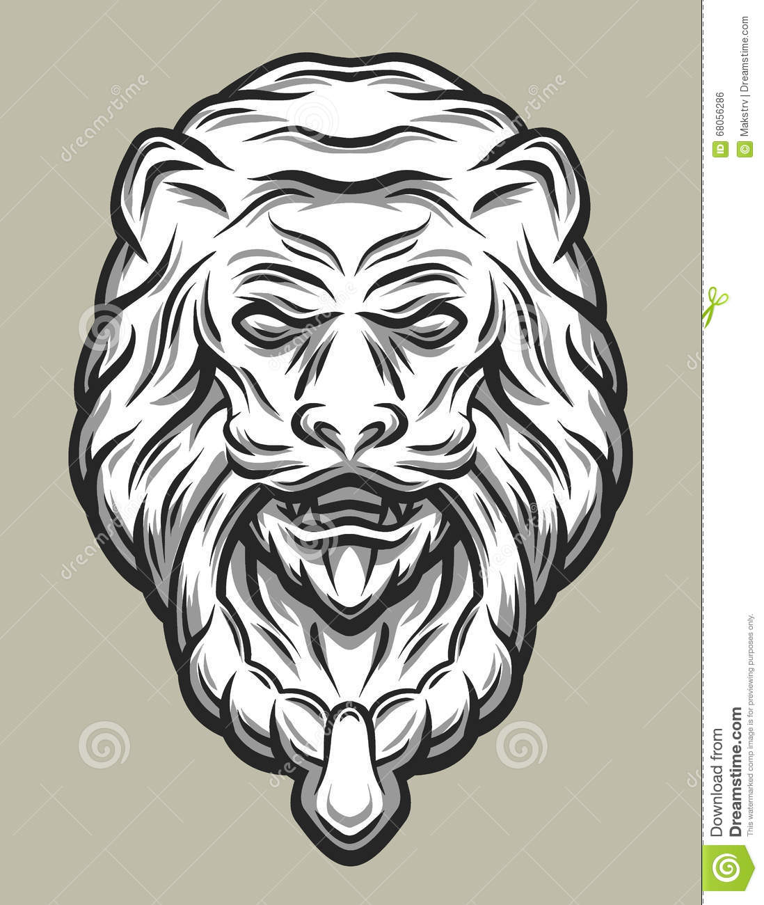 Line Art Styles : Llion head door knocker line art style stock vector