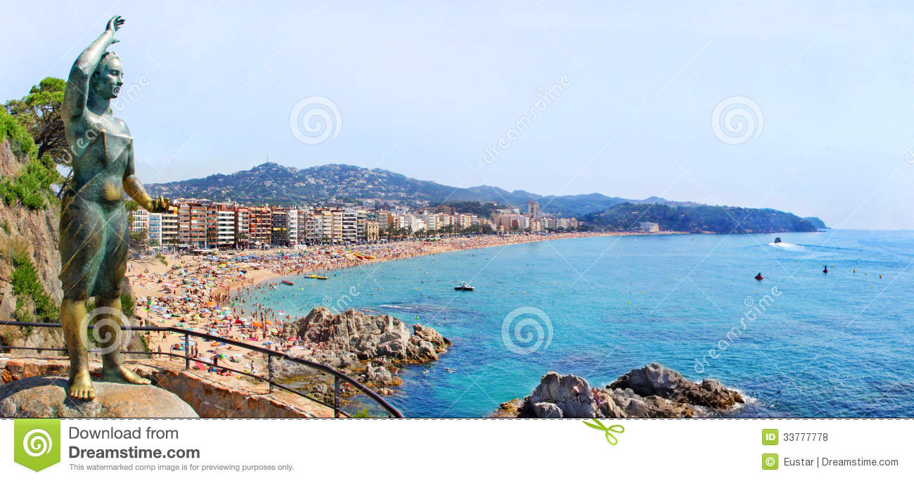 Lloret De Mar Spain  city photos : Spain, Catalonia, Costa Brava, Lloret de Mar. View of the beach and ...