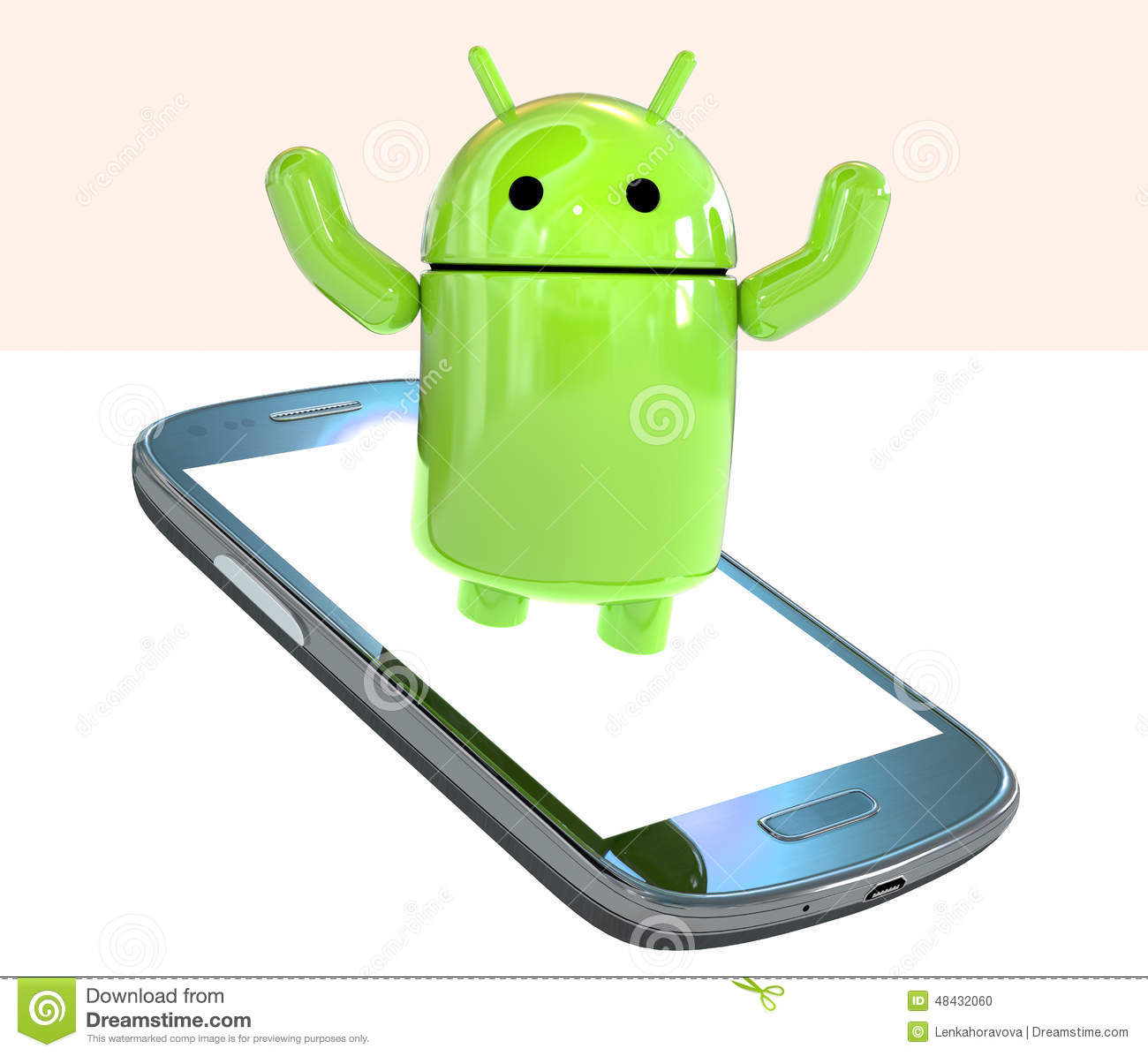 Google Android OS logo mascot robot emerging from a smartphone isolated on white background