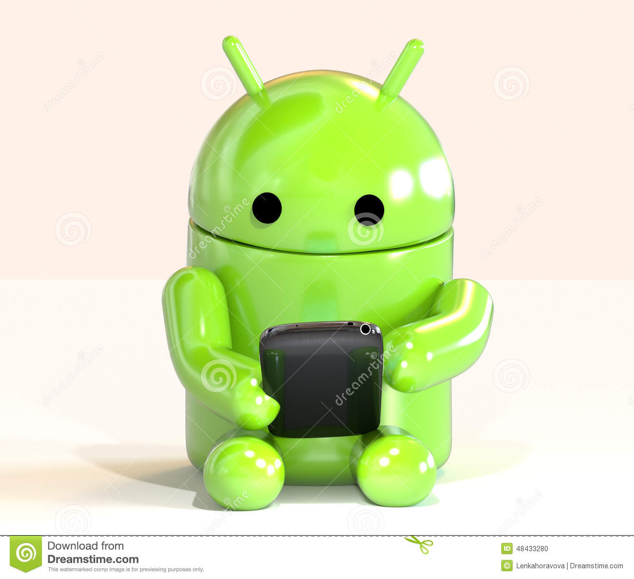 Google Android OS mascot robot using smartphone isolated on white background