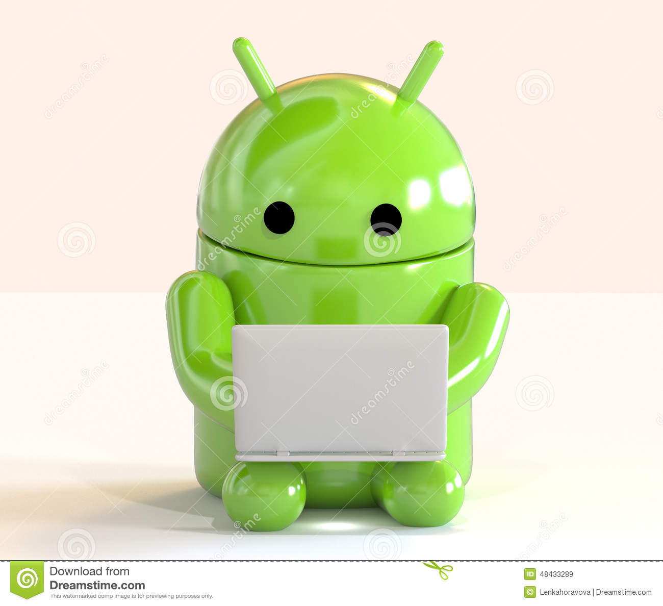 Google Android Os Logo Mascot Working On A Laptop On White