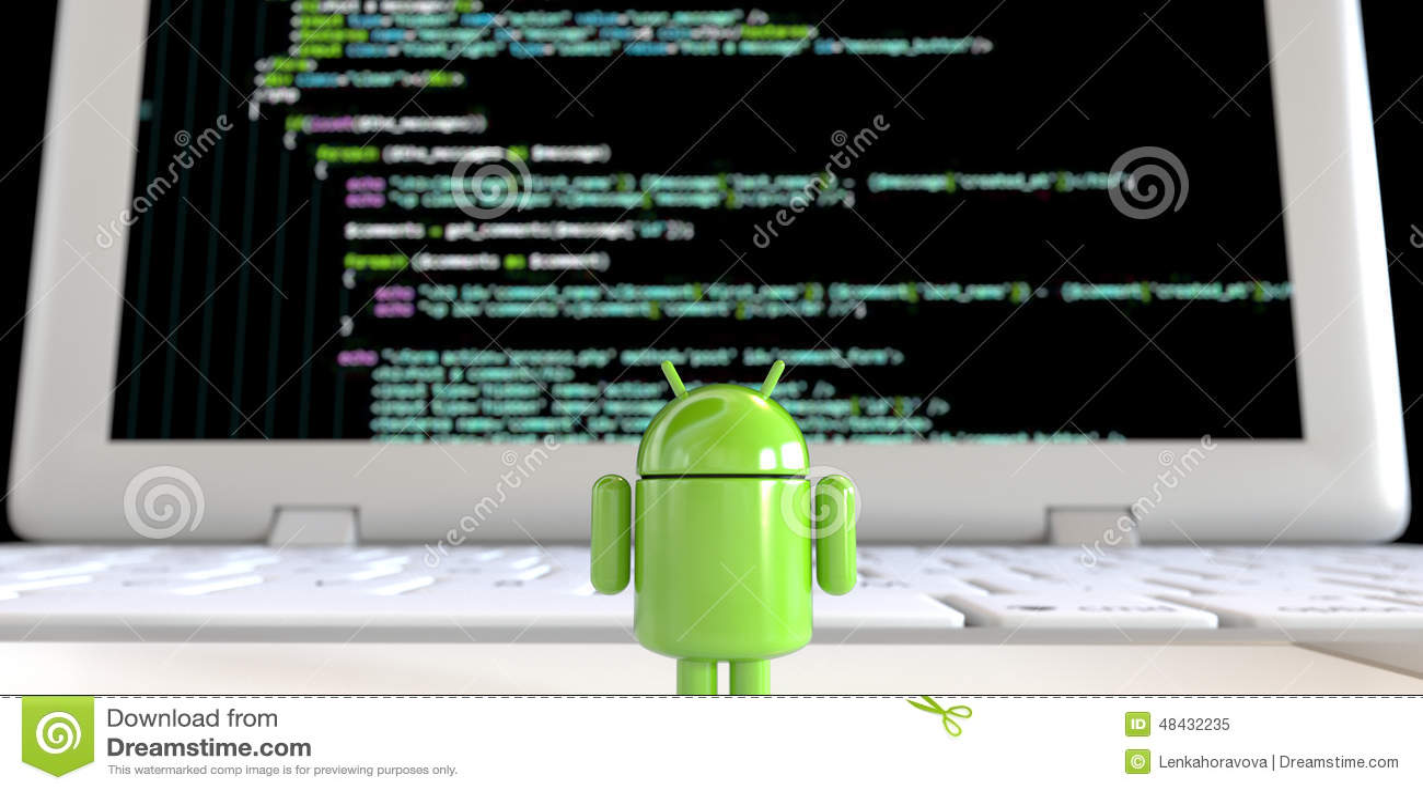 Lloyd van scherm van de het embleem het bevindende alleen onder ogen ziende computer van Android OS met code