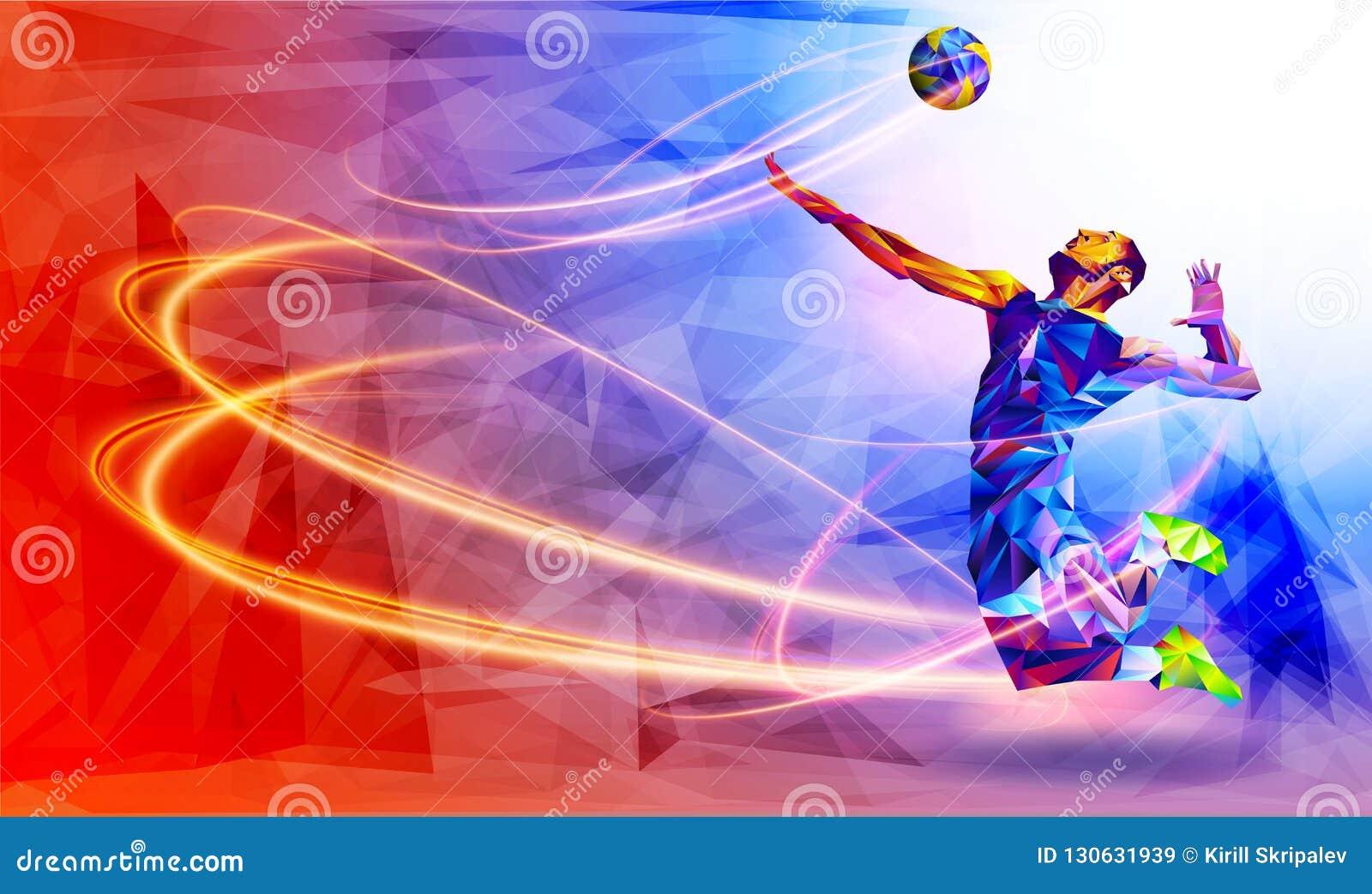 Llustration della siluetta astratta del giocatore di pallavolo nel triangolo giocatore di pallavolo, sport