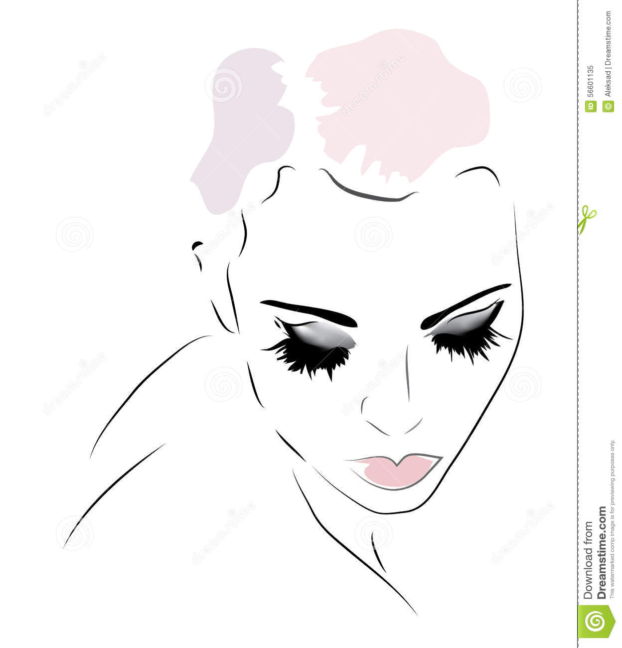 Llustration of a girl looking down stock vector image for How to draw a girl looking down