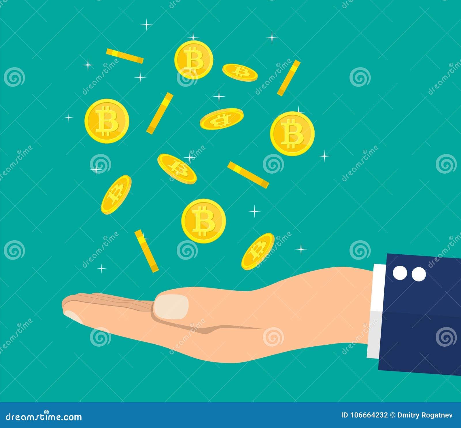 Lluvia de la moneda de oro con la muestra y la mano del bitcoin