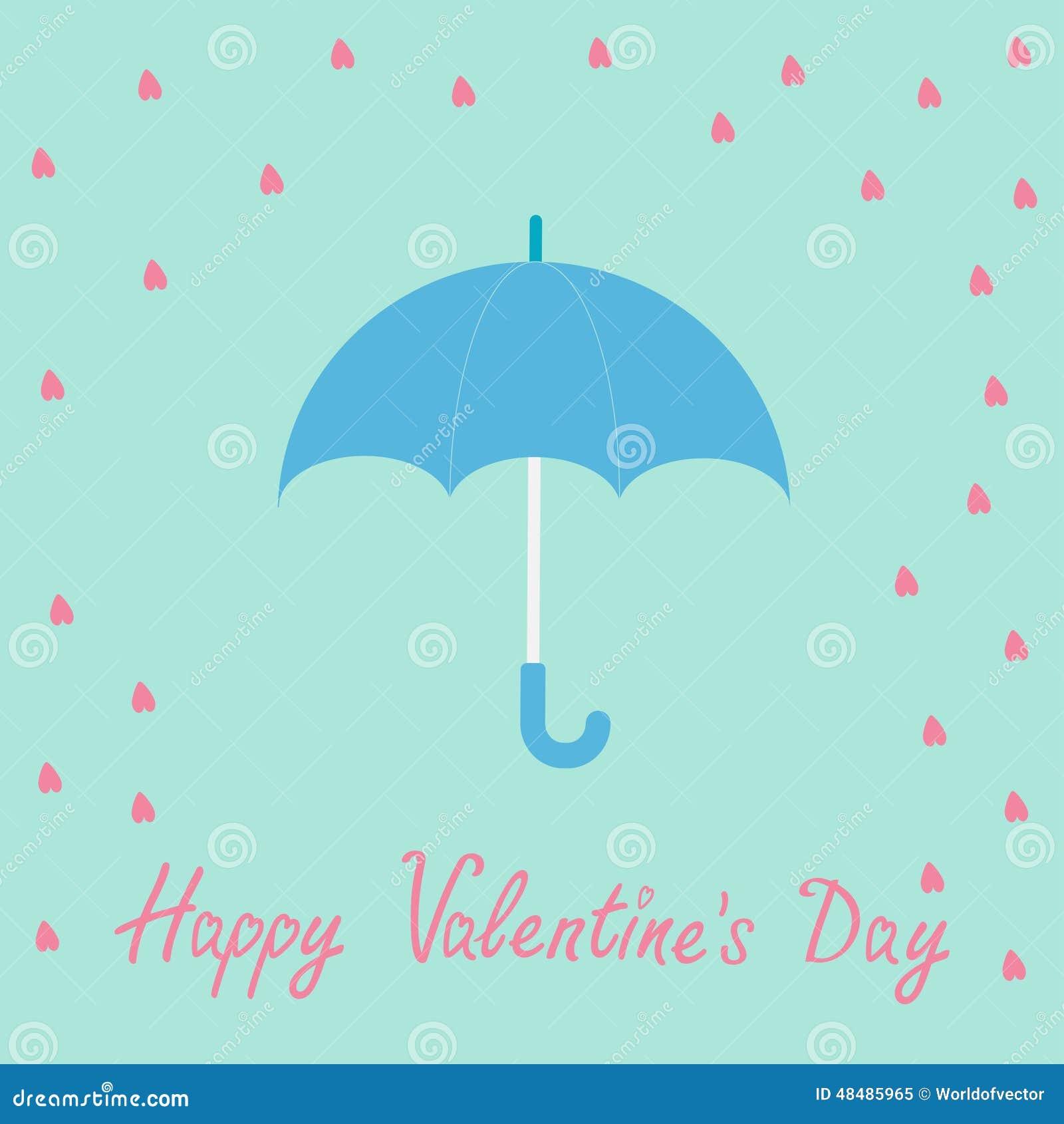 Lluvia Rosada Del Corazón Con El Paraguas Azul Estilo Plano Del