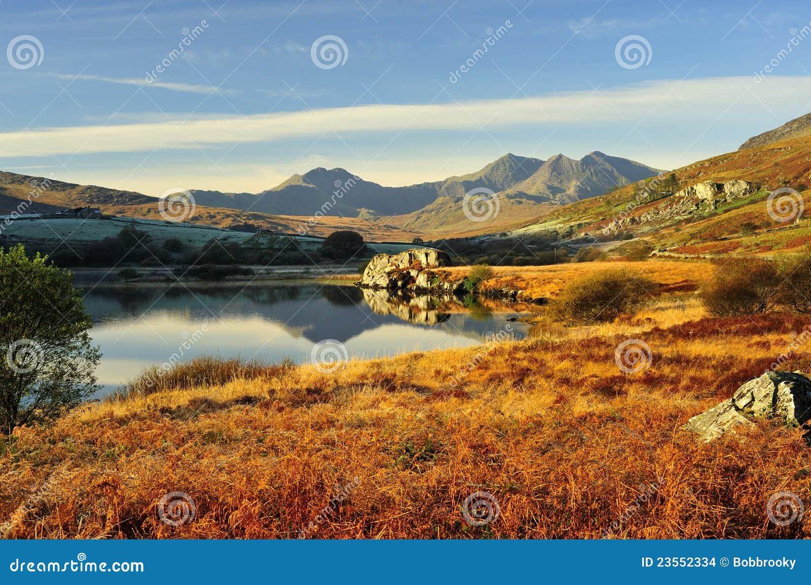 Llynnau Mymbyr to the Snowdon range, winter