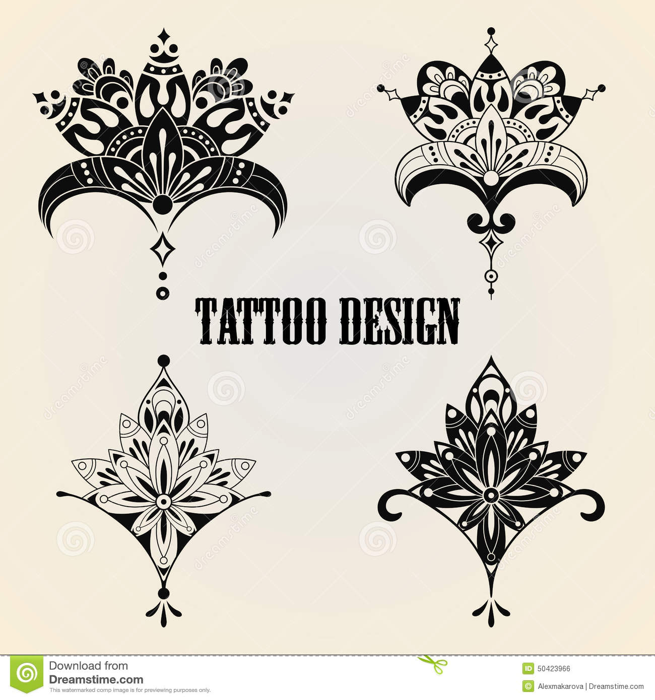 L ments de conception de tatouage illustration de vecteur image 50423966 - Tatouage 4 elements ...