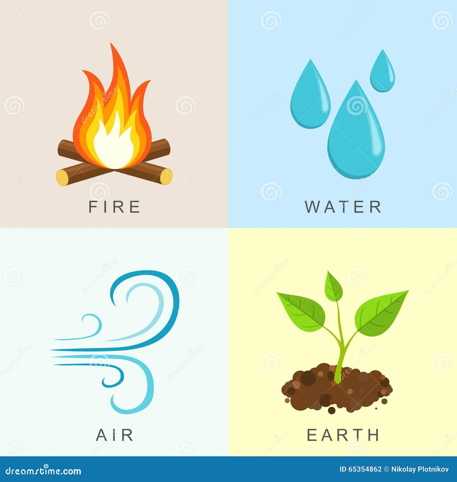 l ments naturels le feu l 39 eau air et la terre illustration de vecteur image 65354862. Black Bedroom Furniture Sets. Home Design Ideas
