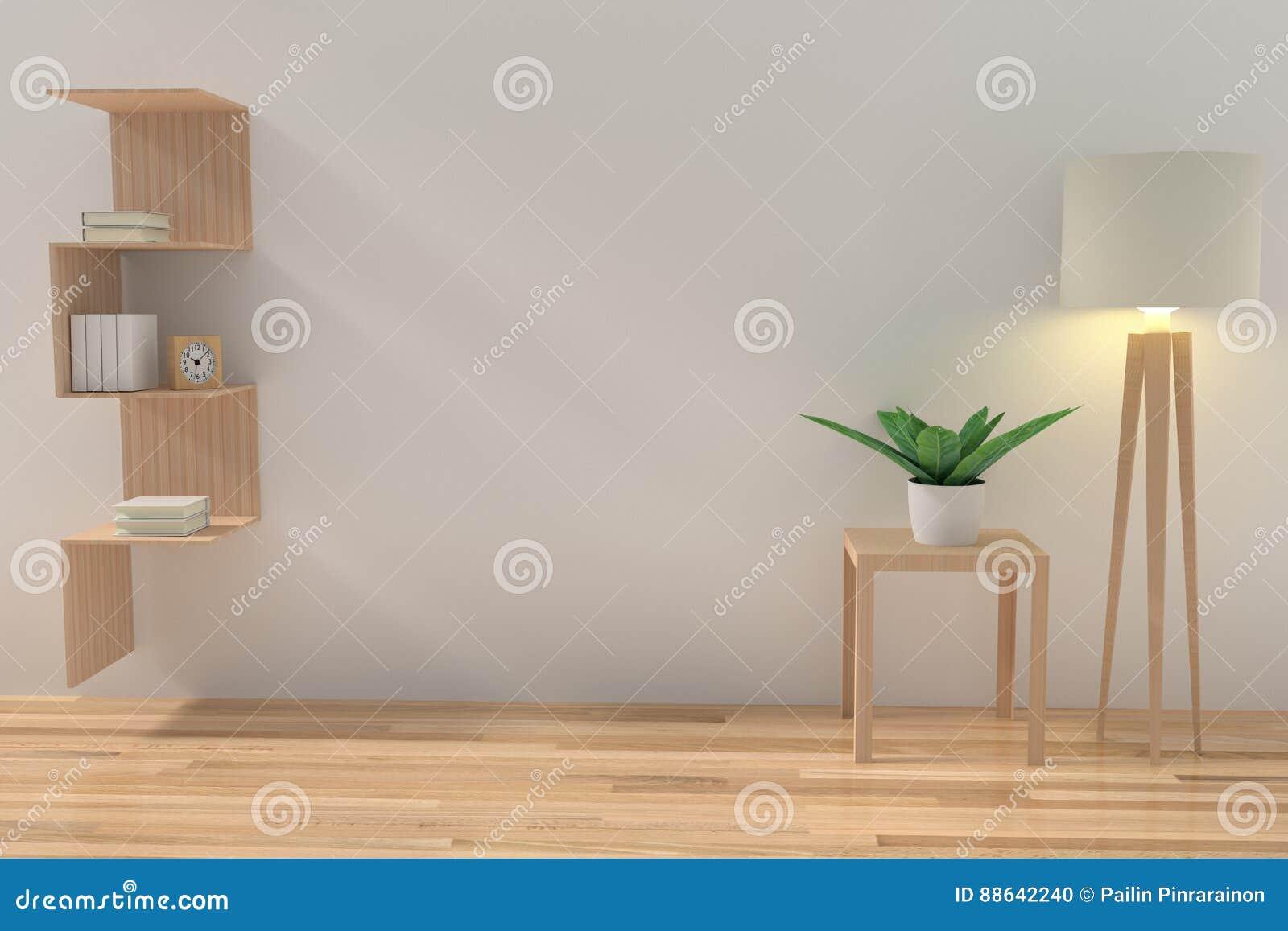 Lo scaffale minimalista con la lampada leggera e la pianta da