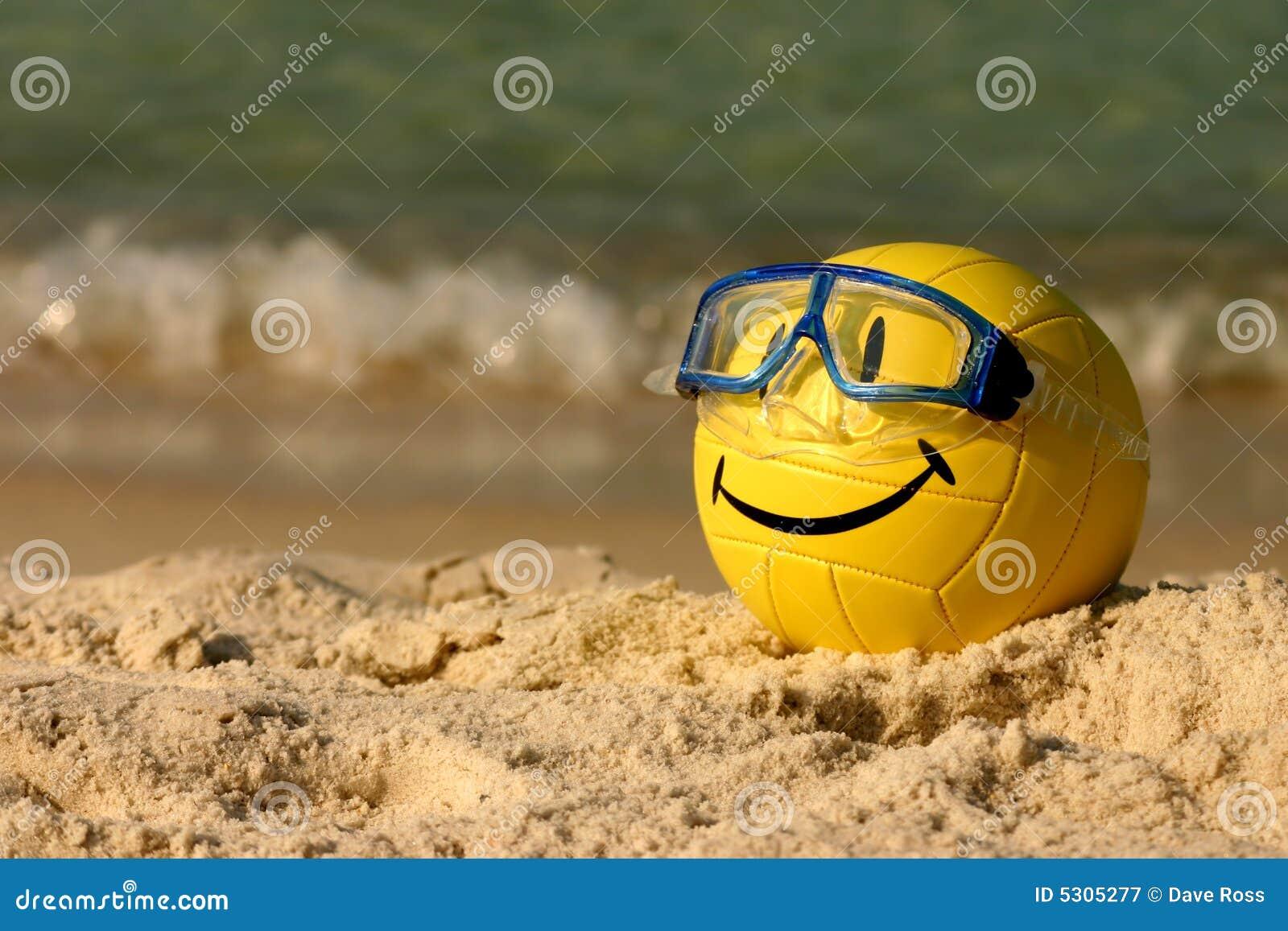 Download Lo Smiley Ha Affrontato La Pallavolo Immagine Stock - Immagine di yellow, sabbia: 5305277