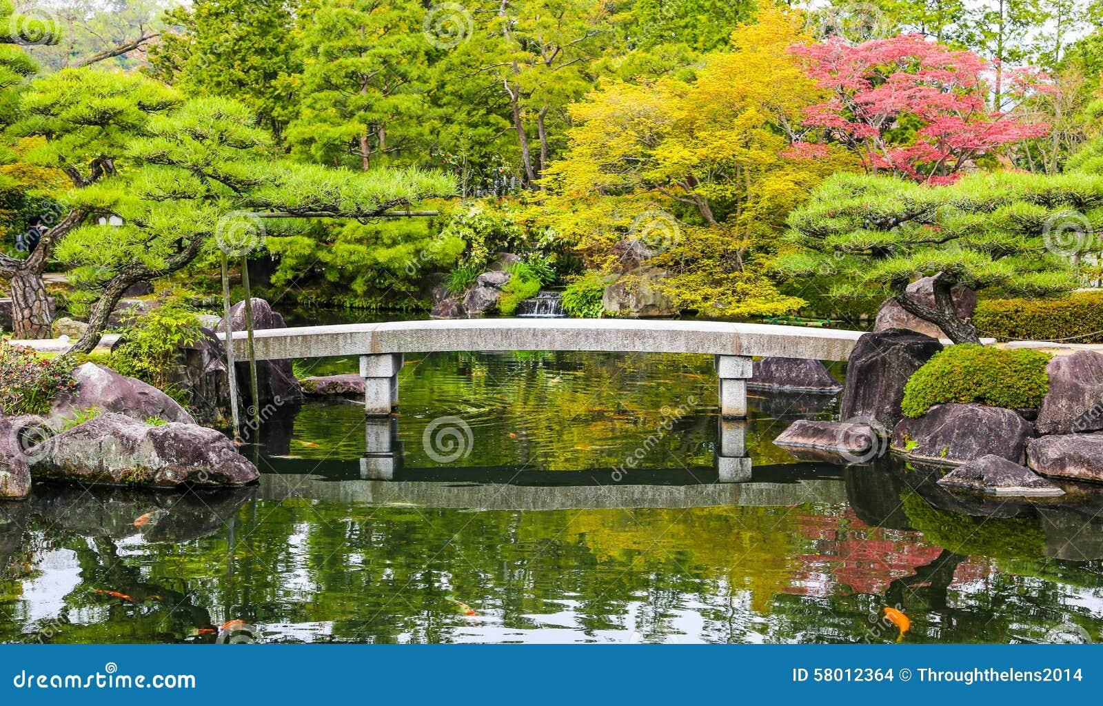 Lo stagno del giardino di zen con il ponte e la carpa for Stagno giardino