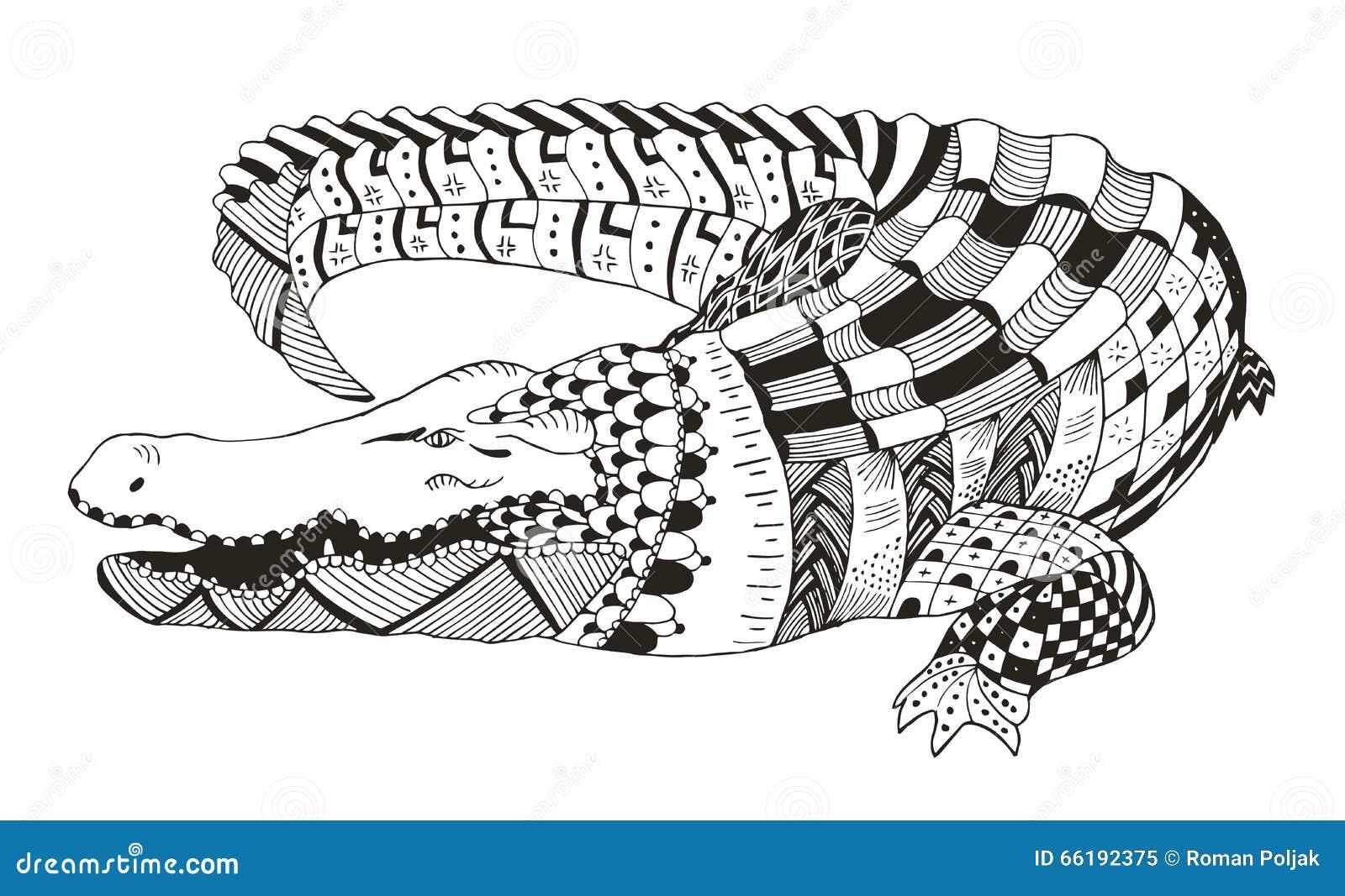 Lo Zentangle Del Coccodrillo Ha Stilizzato Vector