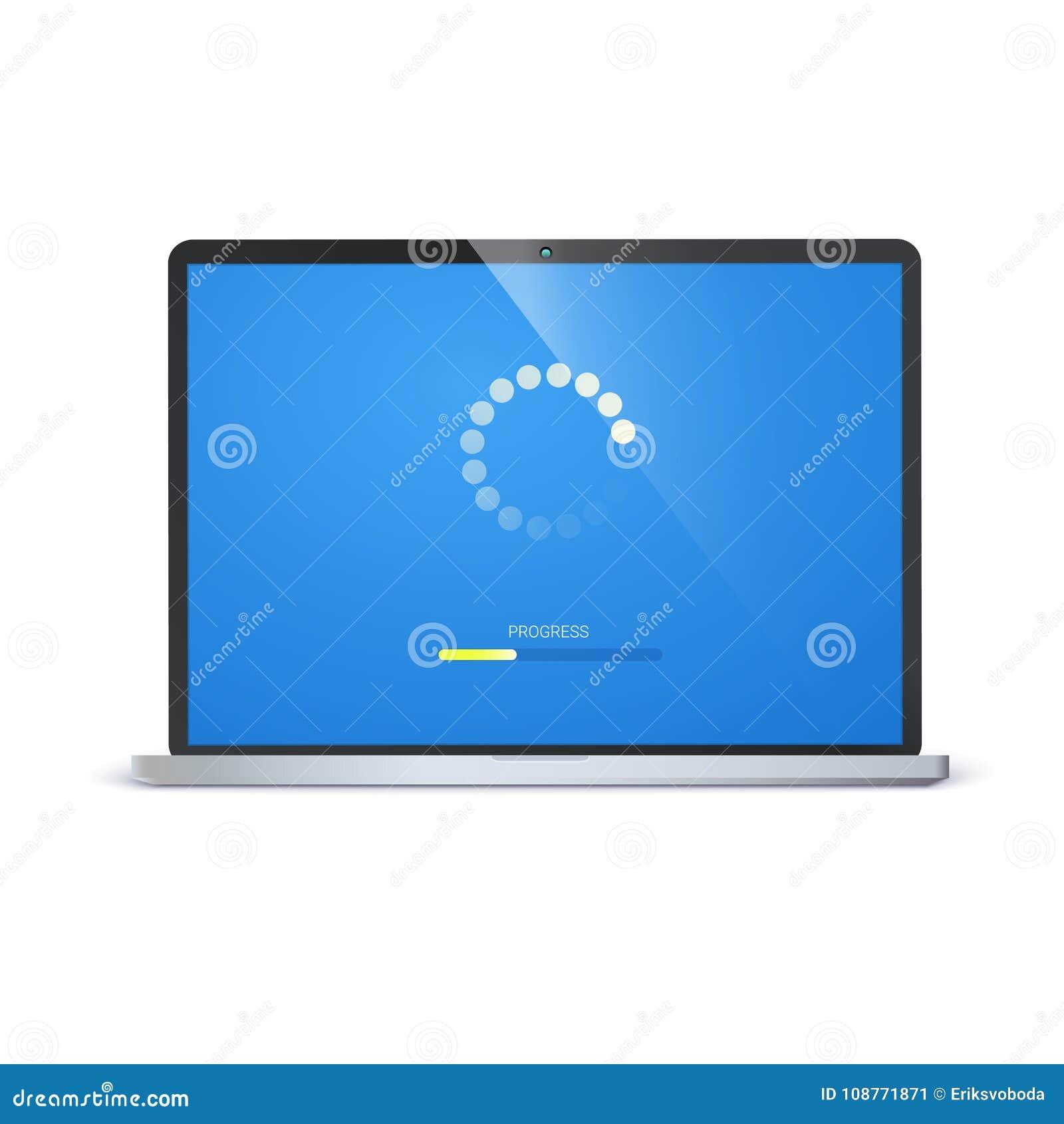 Load Bar For Mobile Apps, Web Preloader On Screen Of Laptop  Radial