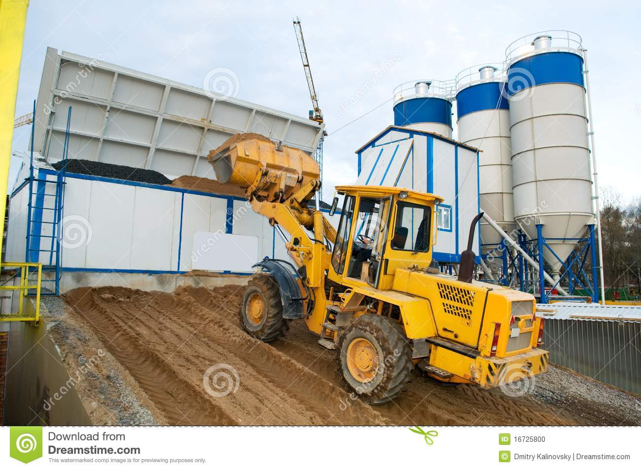 Cement Loading Plant : Loader works at concrete plant stock photo image