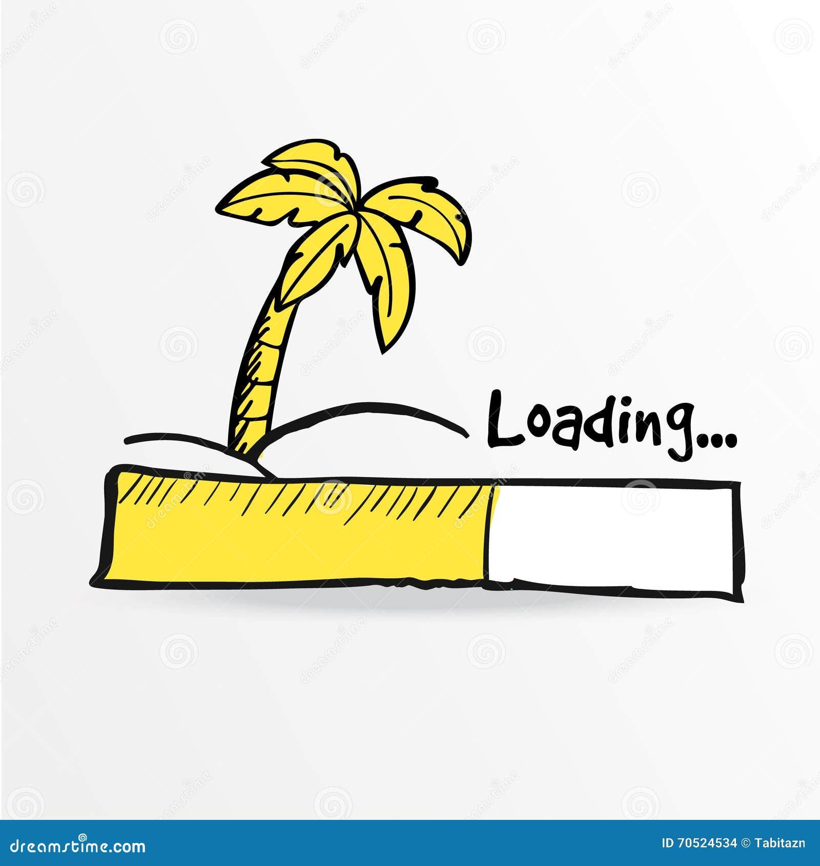 Loading bar. Palm on the tropical island, .
