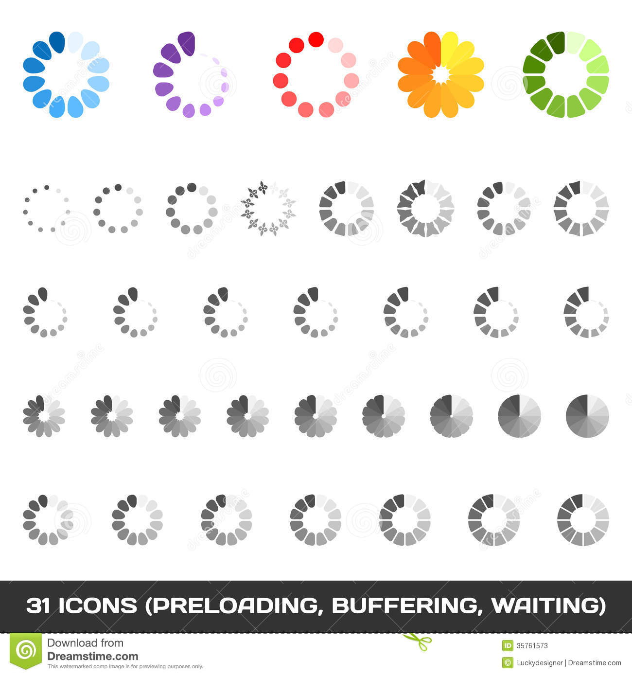 Loading And Buffering Icon Set Preloaders Vector Stock