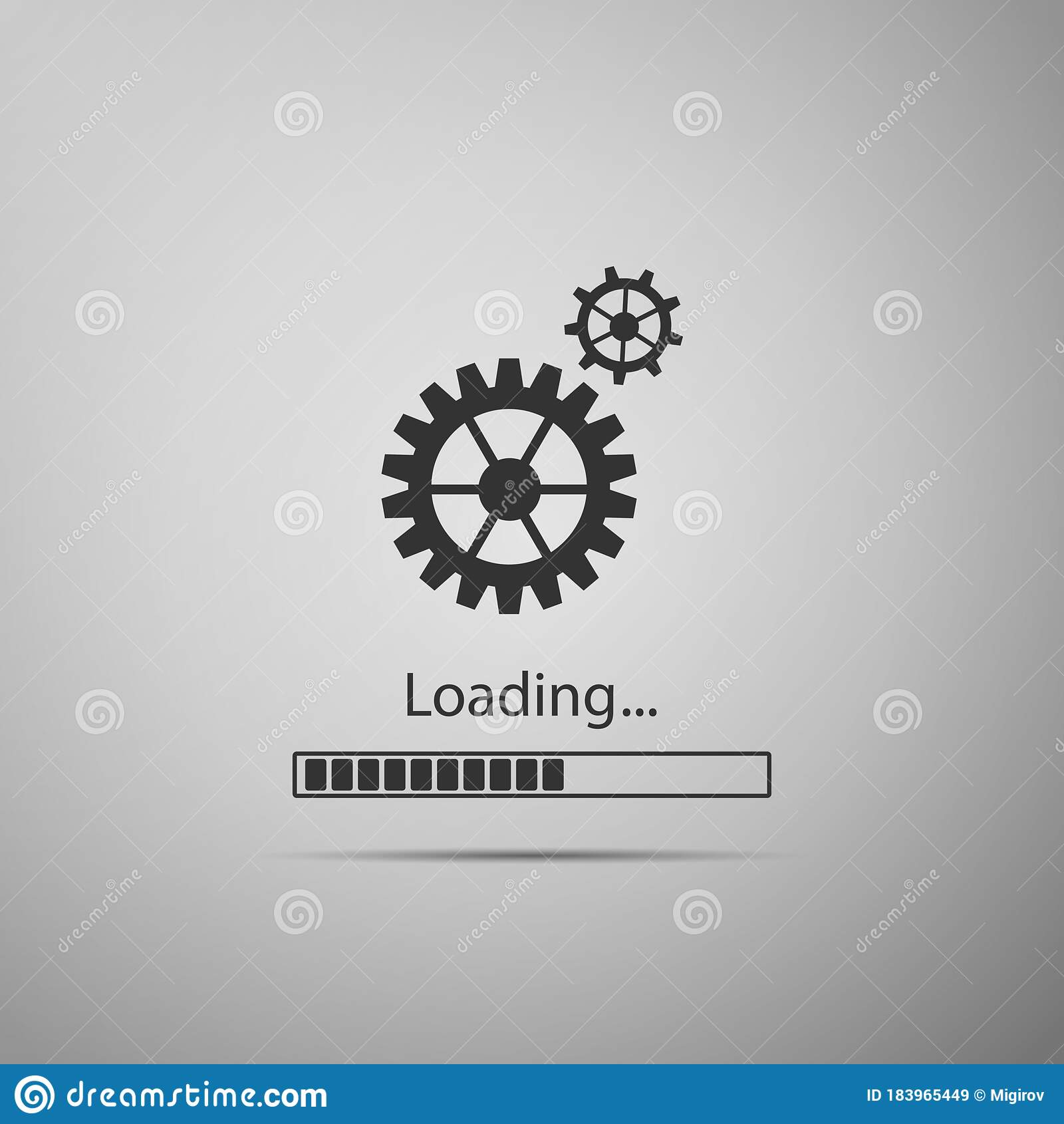 Loading And Gear Icon Isolated On Grey Background Progress Bar Icon System Software Update Loading Process Symbol Stock Vector Illustration Of Bright Buffering 183965449