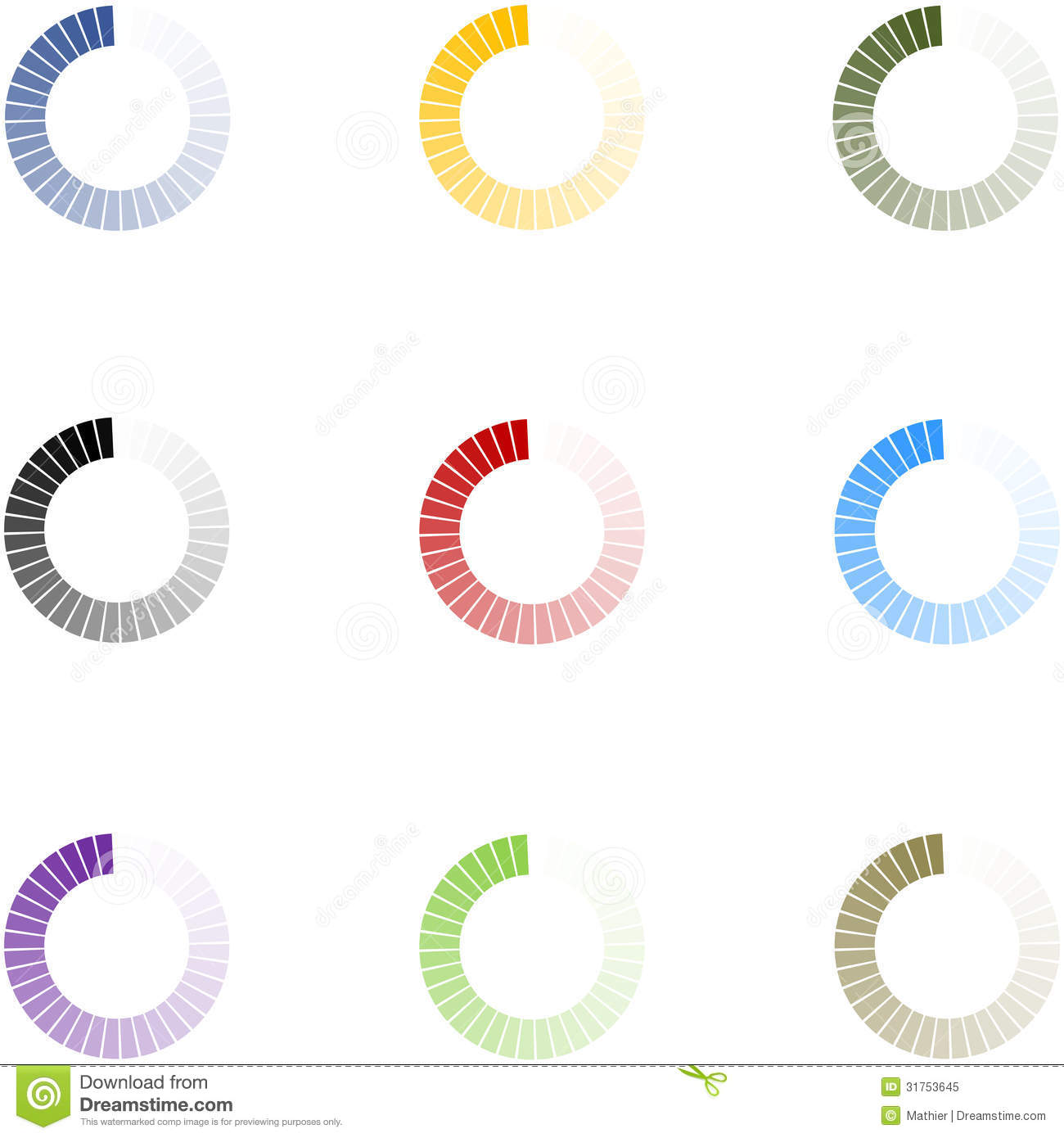 Loading Indicators Set 9 Colors - V1 Stock Image