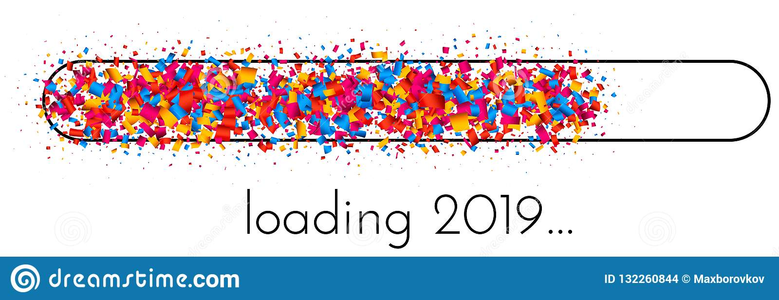Loading 2019 New Year banner with colorful progress indicator.