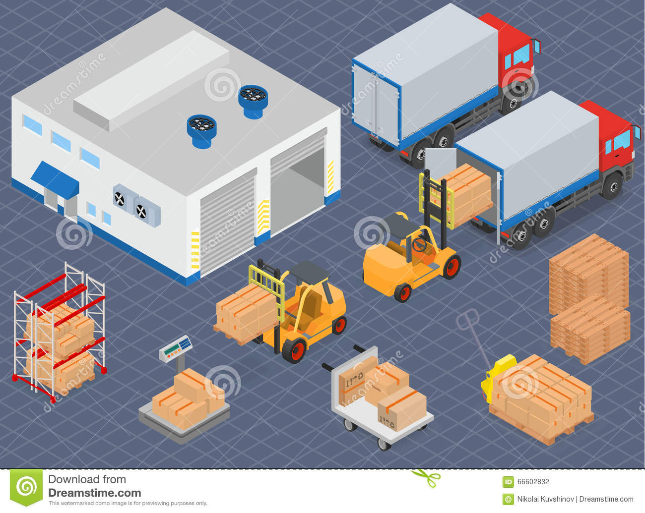 Loading Or Unloading A Truck In The Warehouse Warehouse
