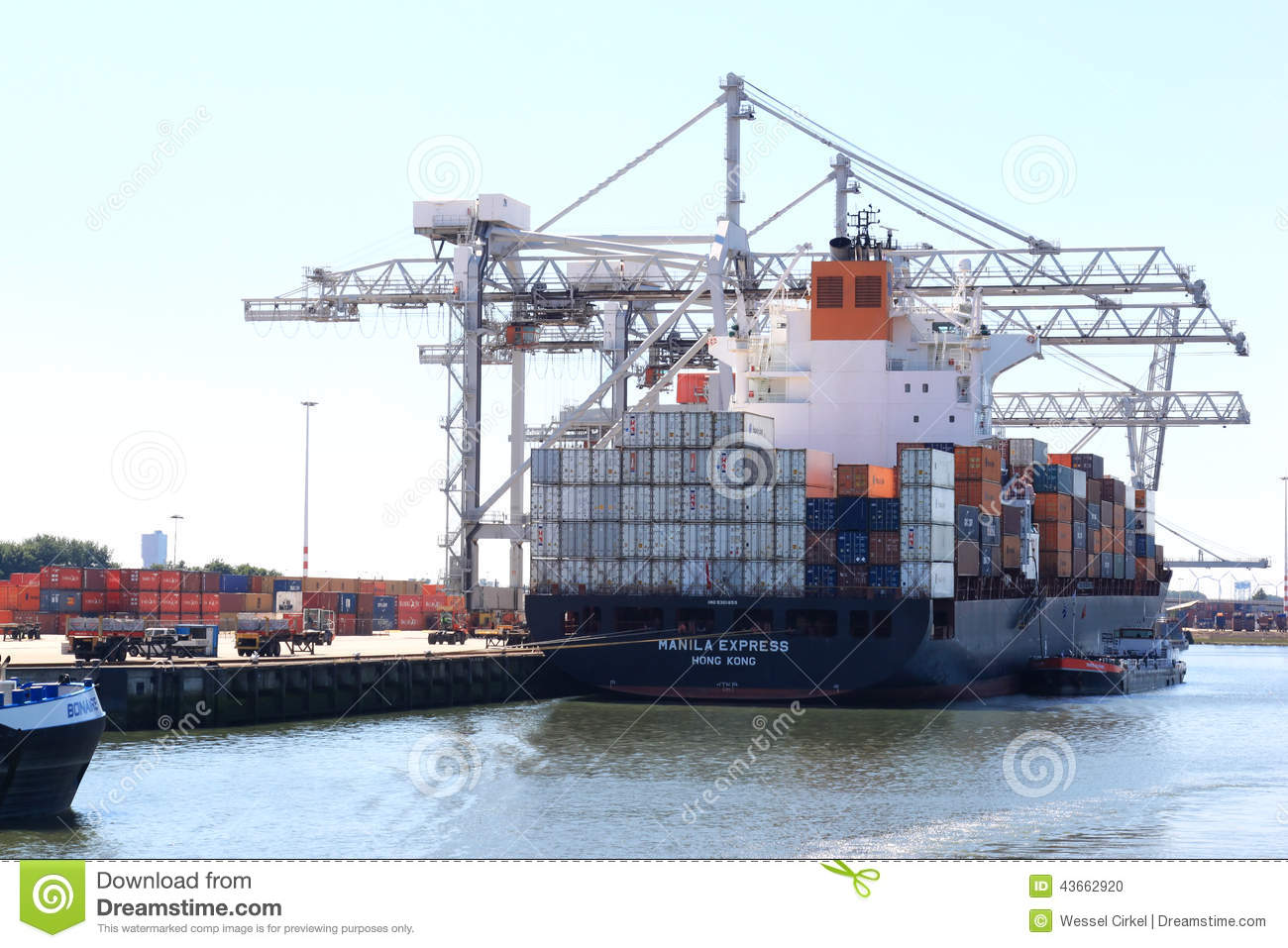 Loading a vessel in Rotterdam port, the Netherlands