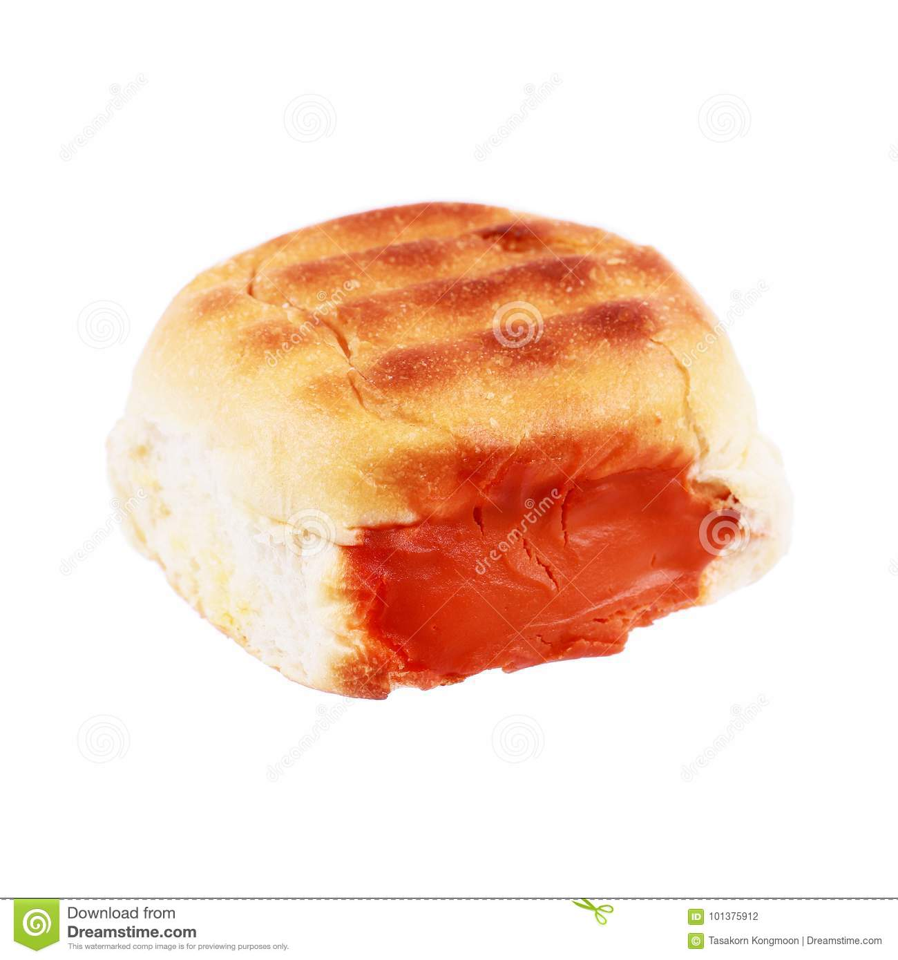 loaf of baked bread stuffed with lava cream isolated on white