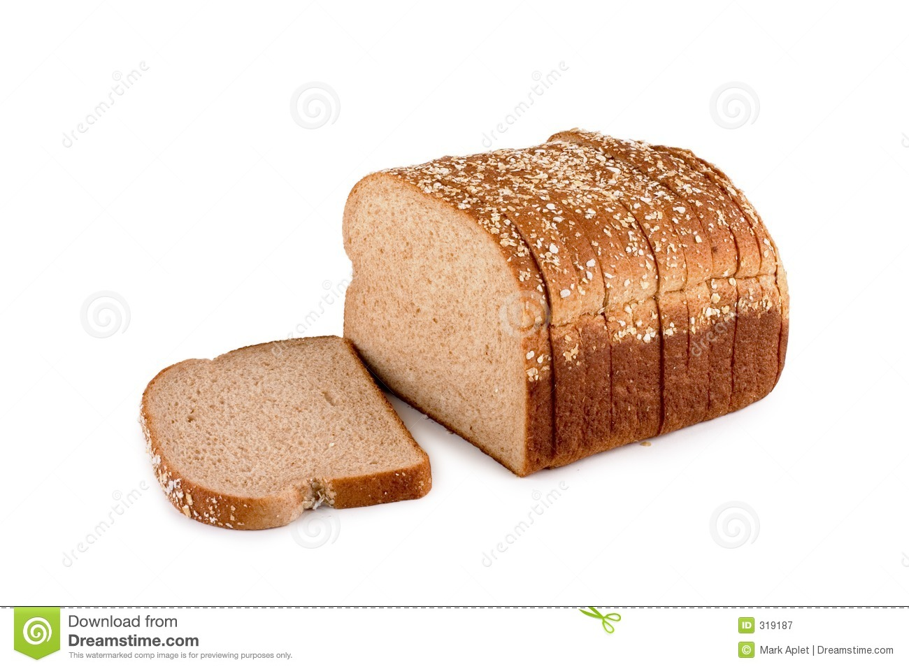 Loaf of whole wheat bread isolated on white with a clipping path.