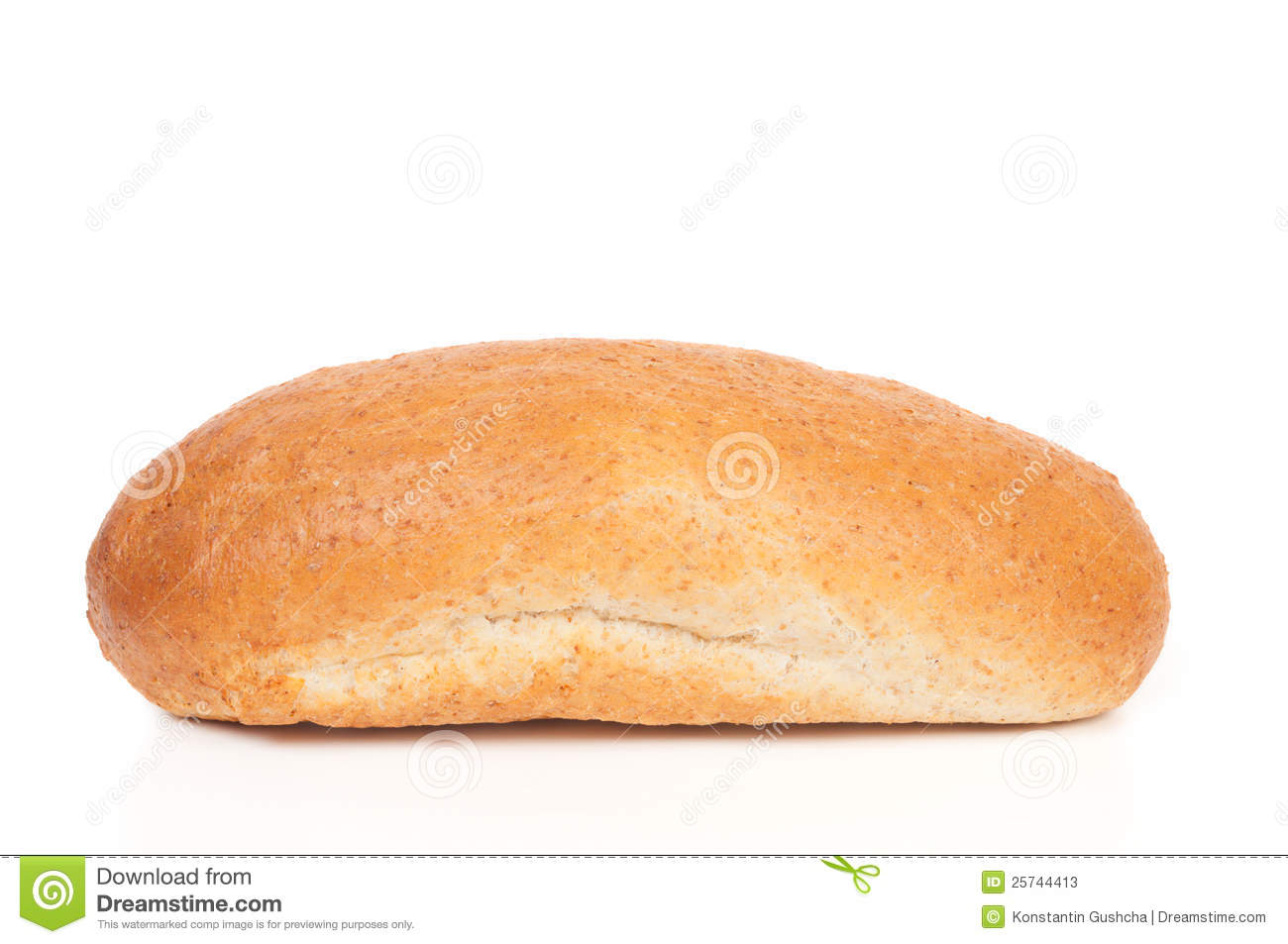 Loaf of bread with bran isolated on white