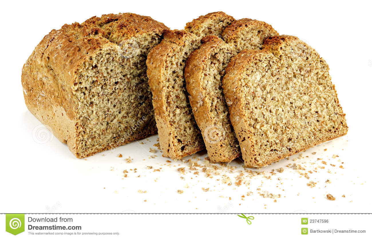 A Loaf Bread With Three Slices And Bread Crumbs Royalty Free Stock Image Image