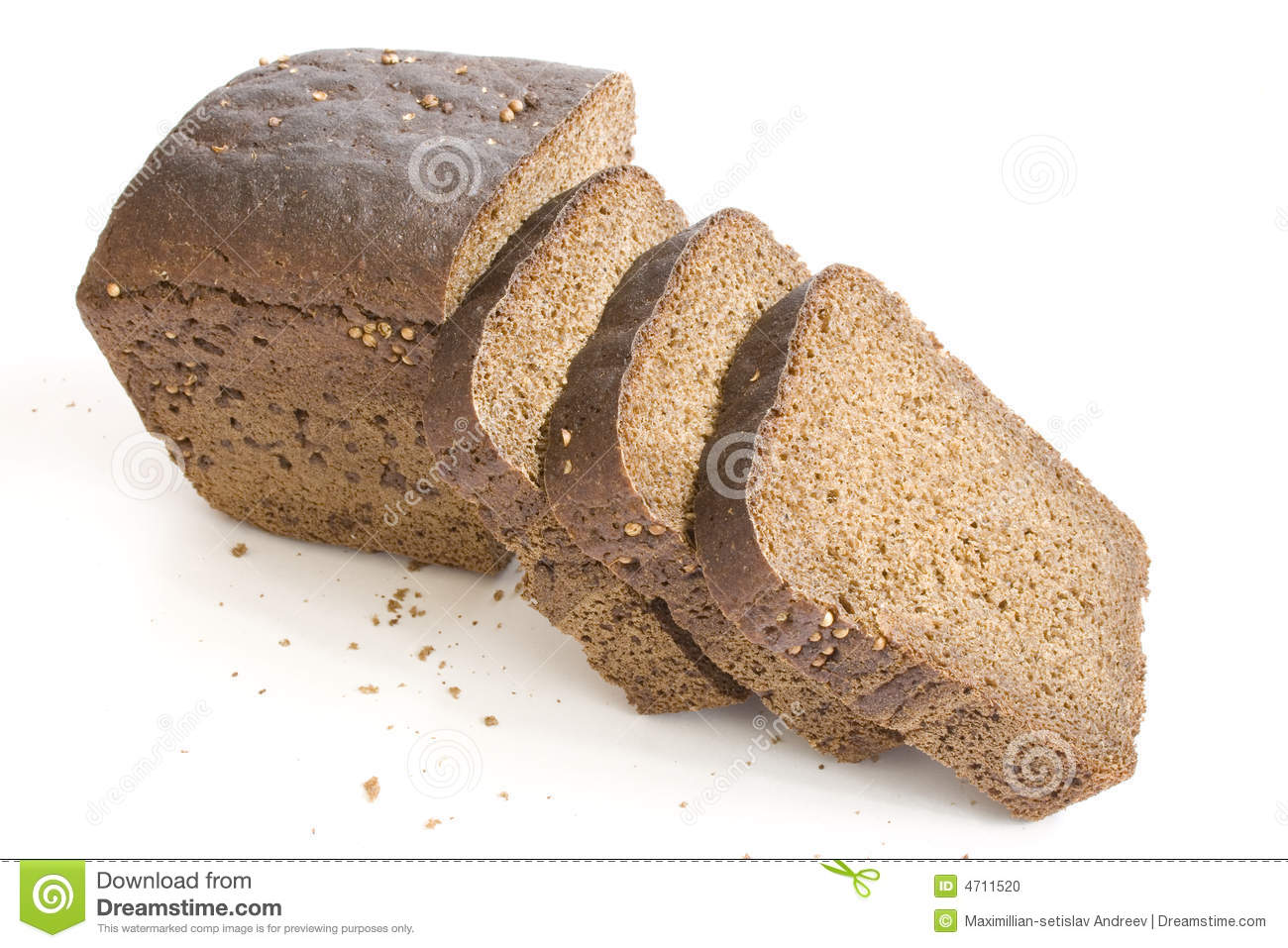 Loaf and slices bread on white background