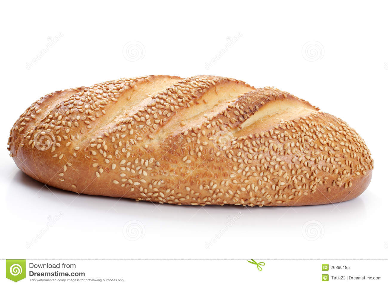 Loaf of white bread with sesame seeds on a white background.
