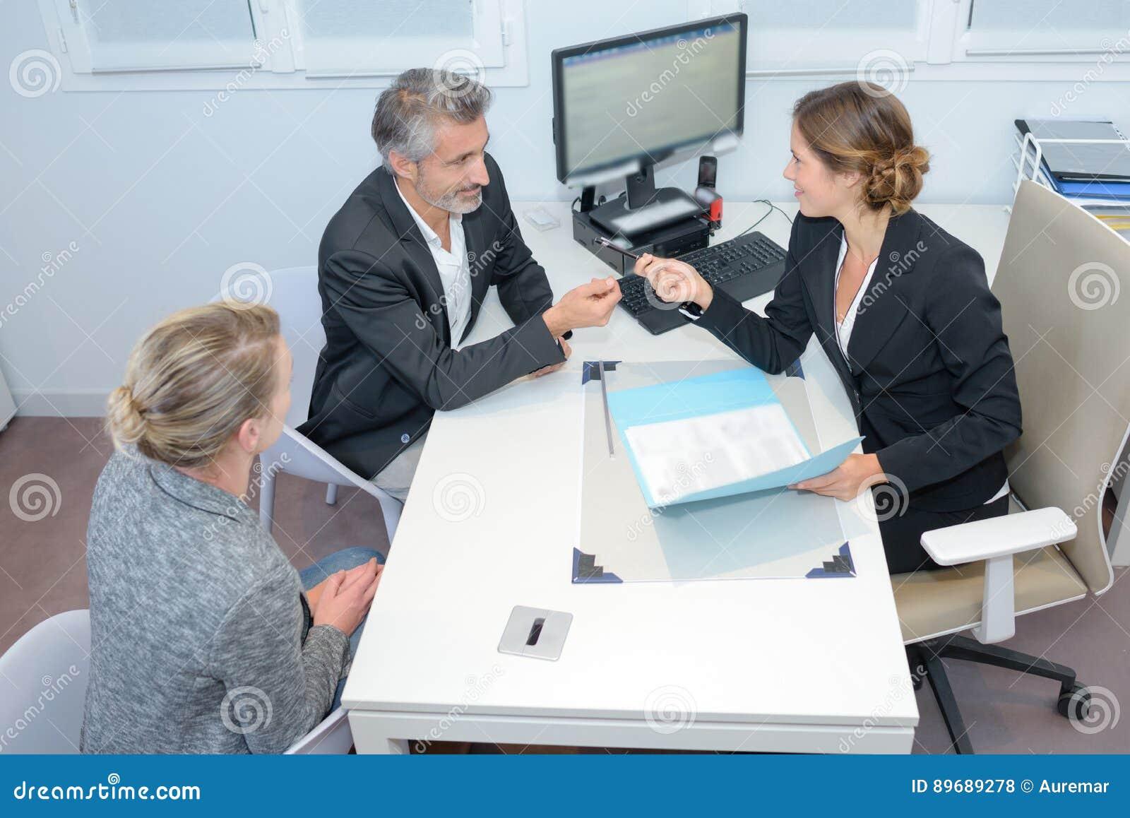 Loan application in office