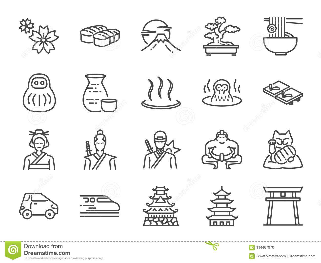 Japan icon set. Included the icons as Tokyo tower, sakura, Geisha, Japanese Sake, eco car, speed train, hot spring, castle and mor