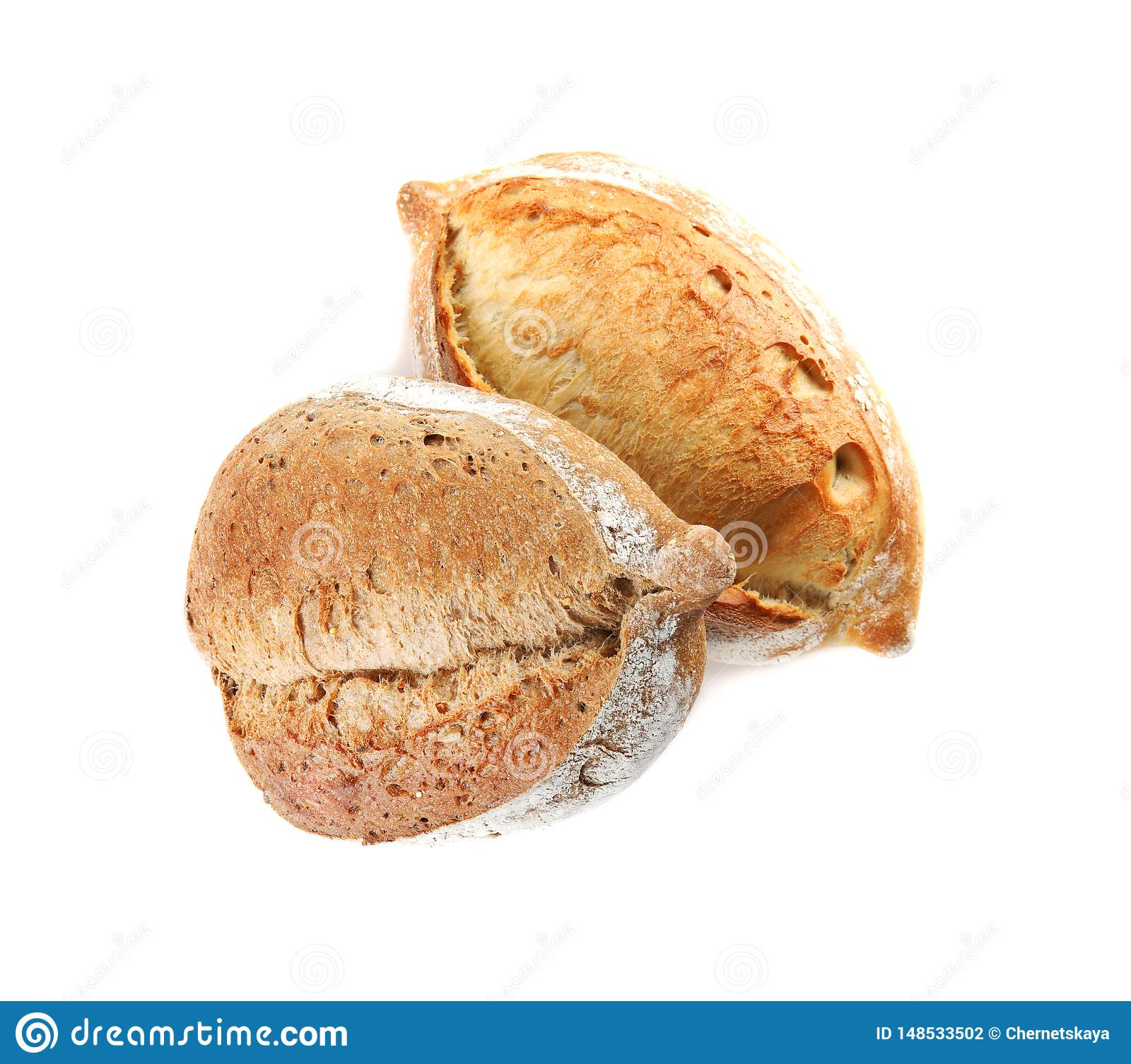 Loaves of fresh bread isolated on white