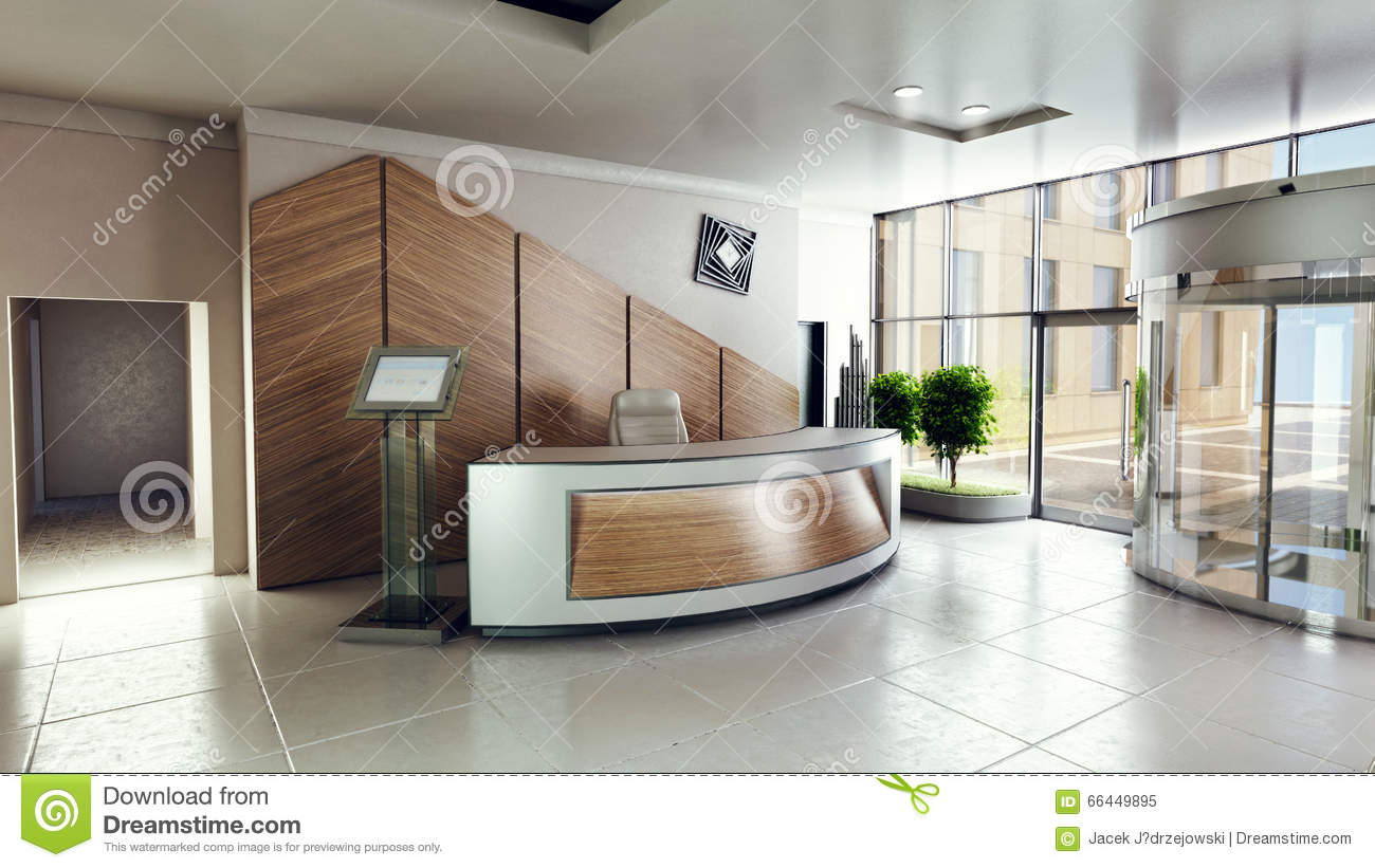 Lobby Entrance With Reception Desk In A Business Center Building Stock Illustration