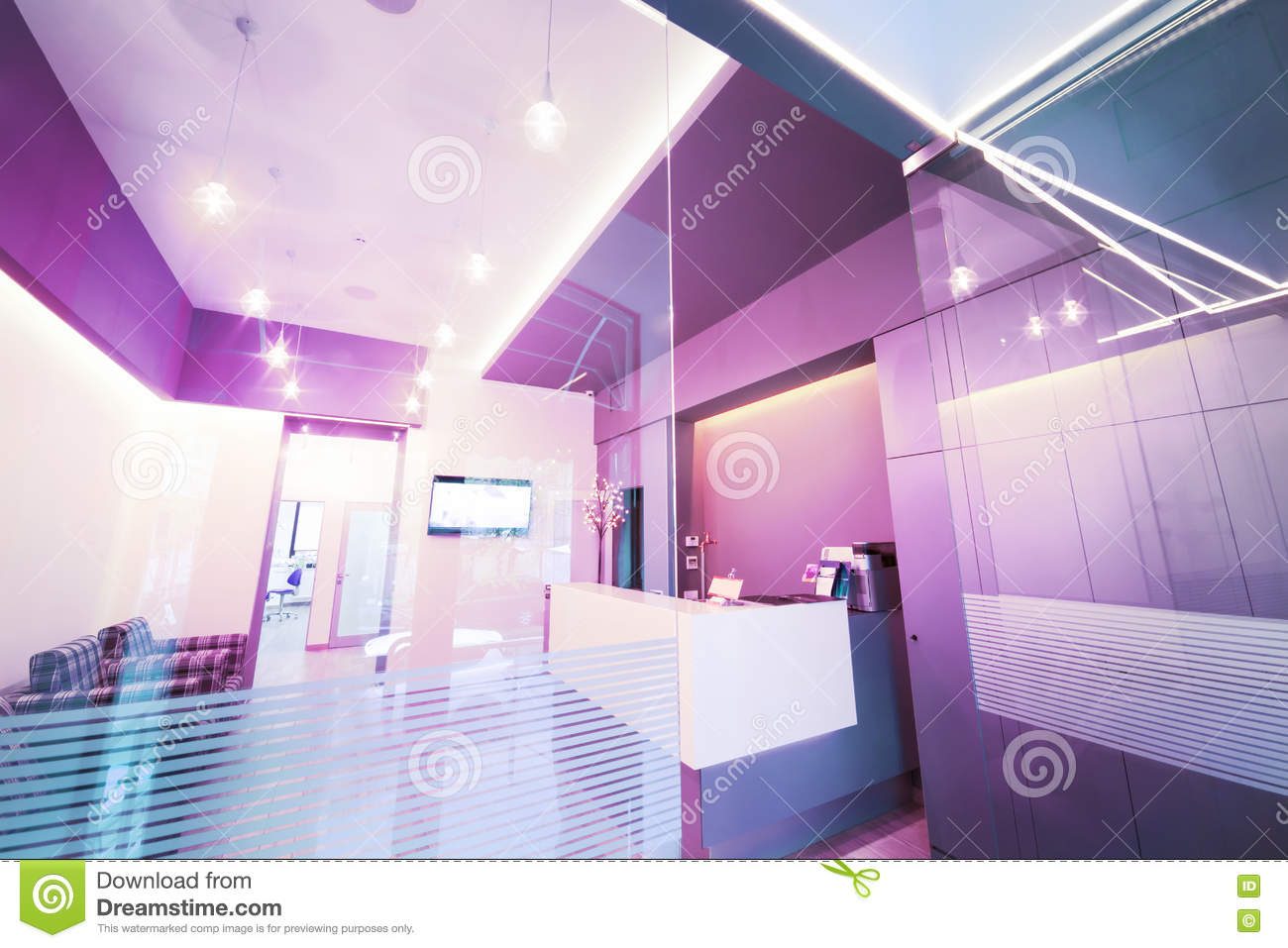 Lobby Entrance With Reception Desk In A Dental Clinic Stock Image
