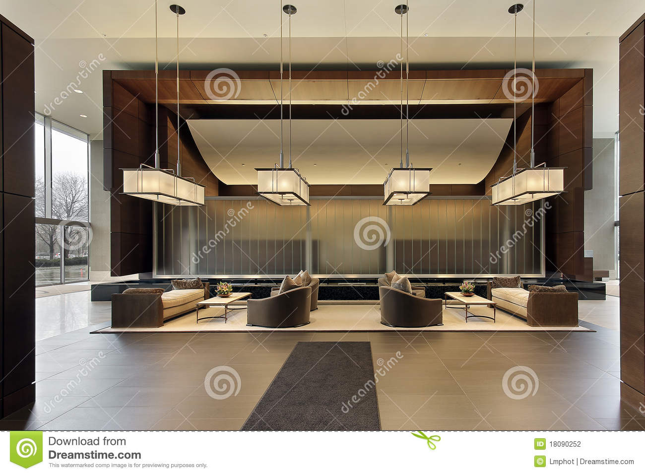 Lobby Of High Rise Stock Photo Image Of Town Reflection