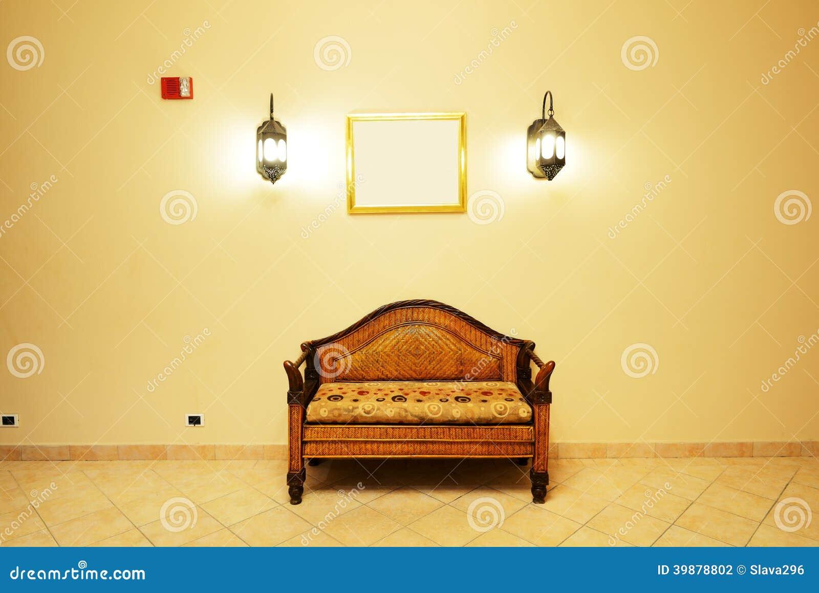 Lobby interior of the luxury hotel in night illumination
