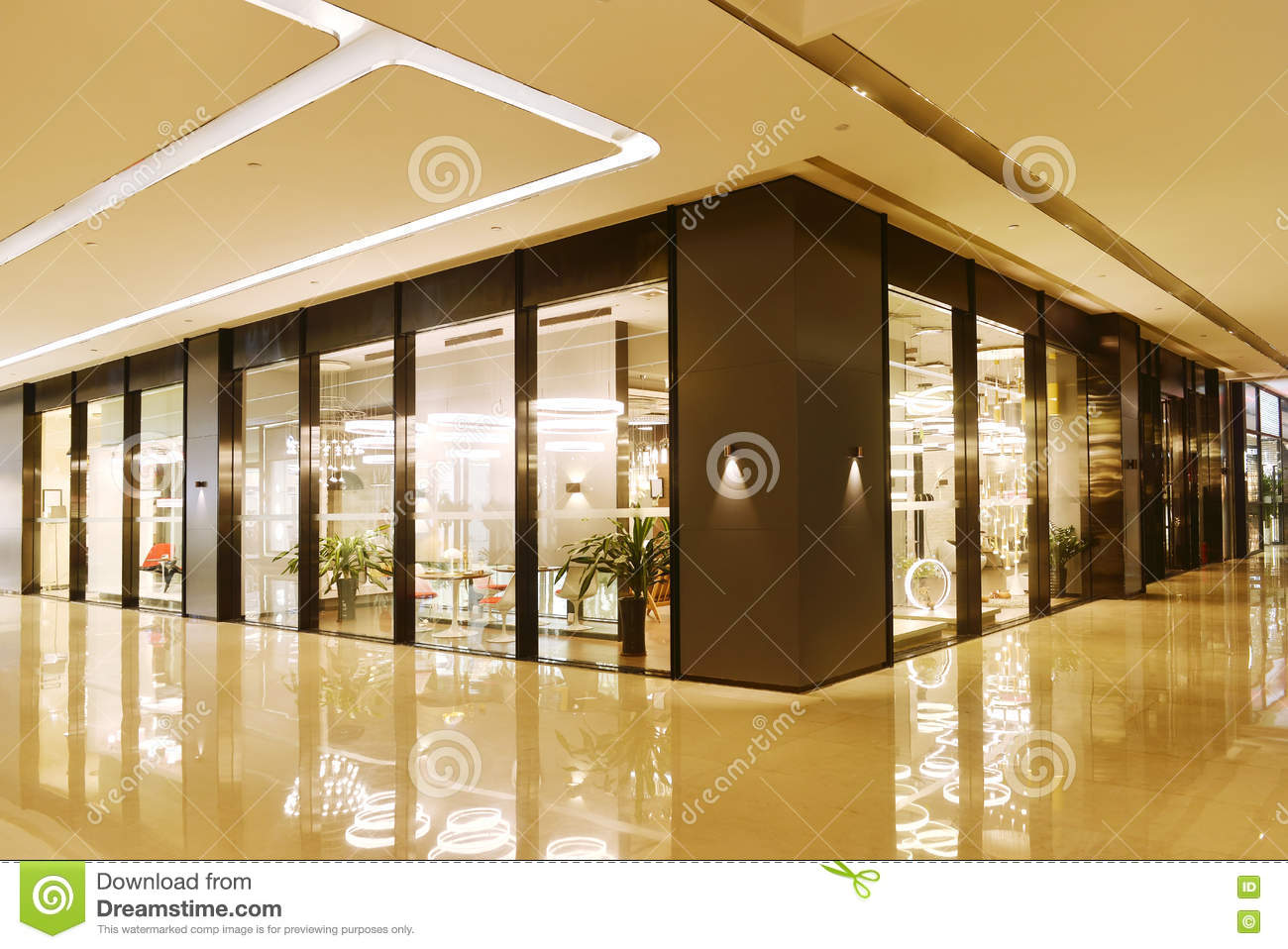 Lobby and shop in commercial building