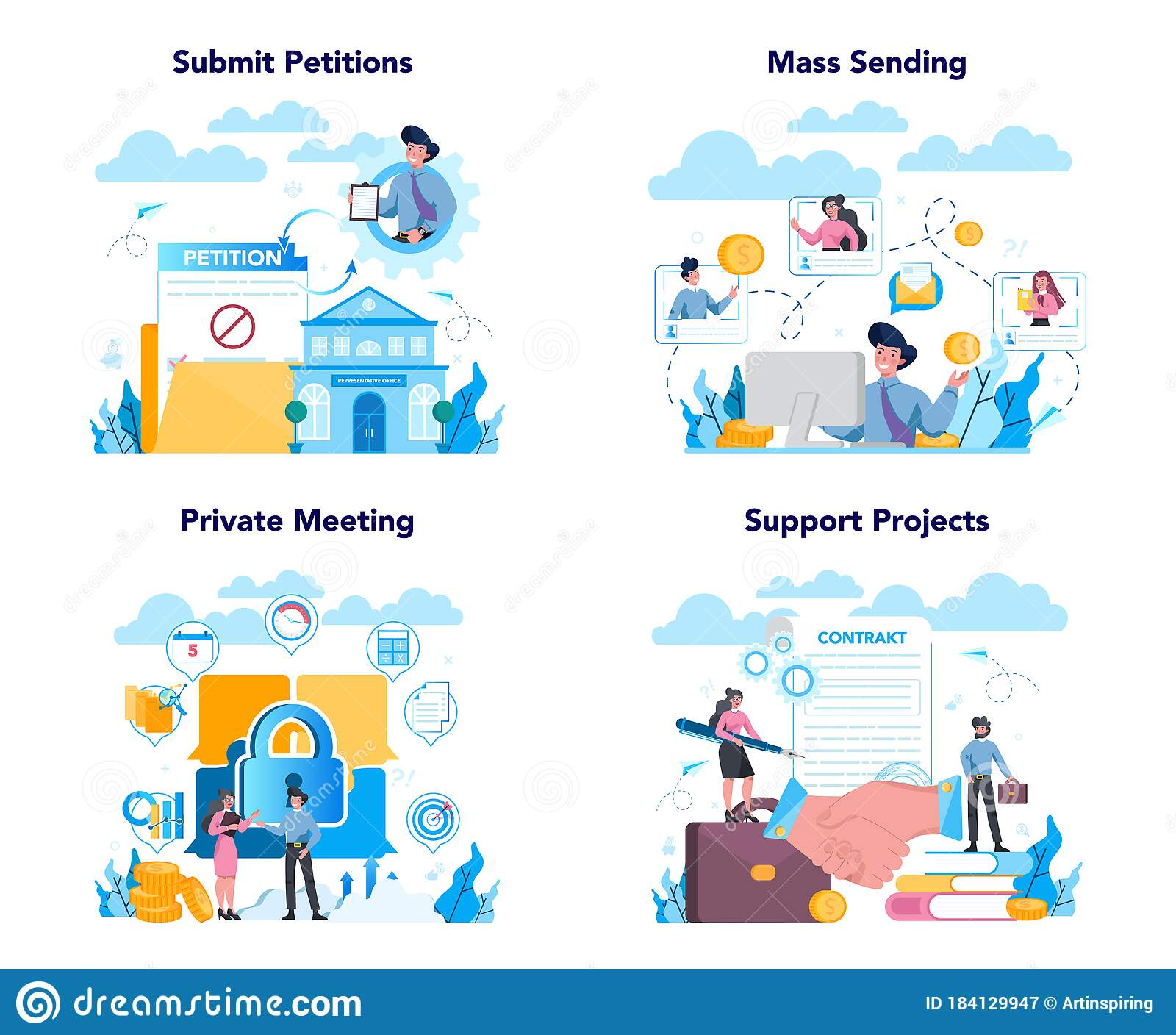 Lobbyist And Lobby Concept Set Professional Pr Specialist Influencing Stock Vector Illustration Of People Consultant 184129947
