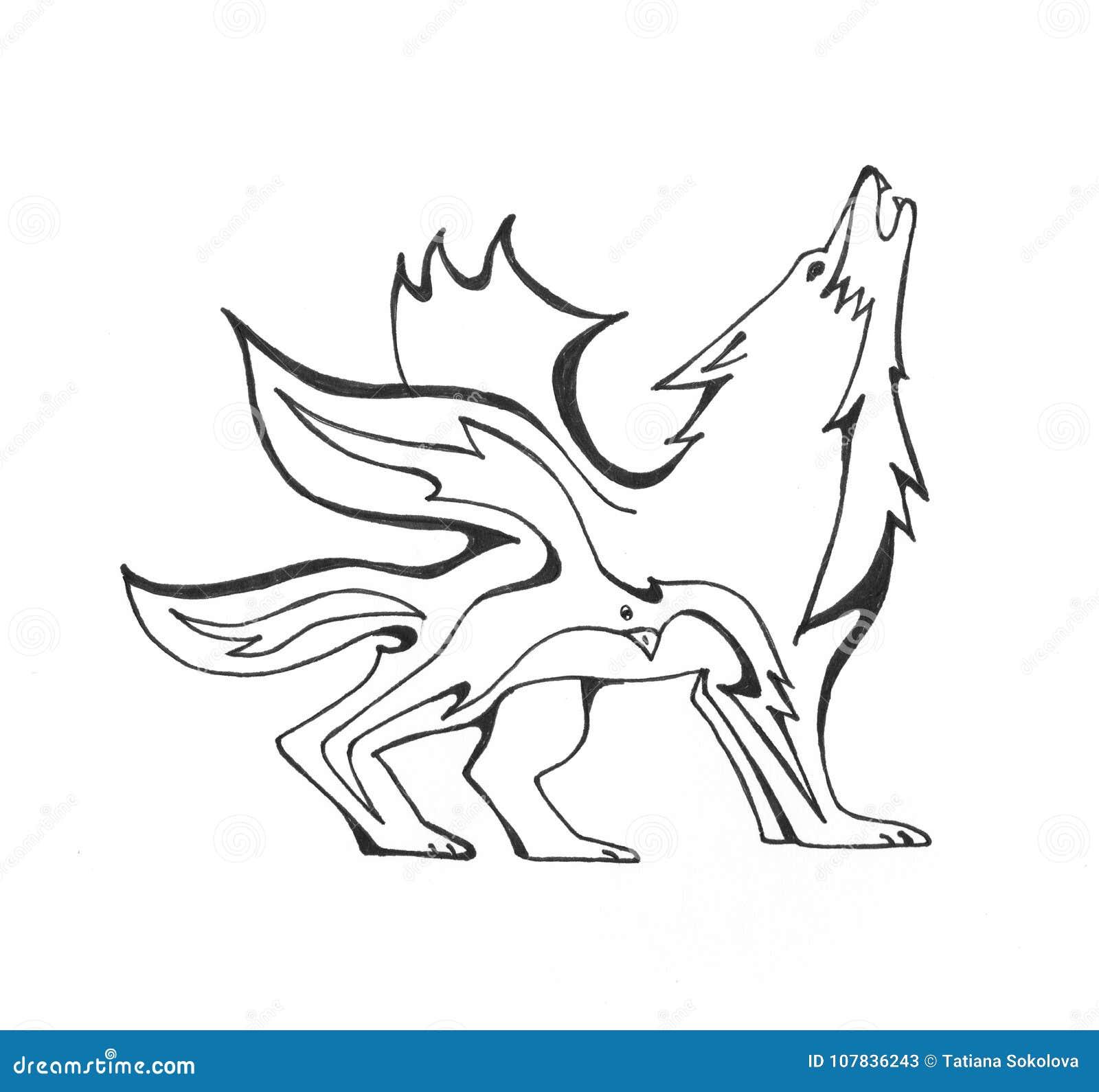 Lobo Del Fuego Y Un Pájaro Ilustración Del Vector Ilustración De