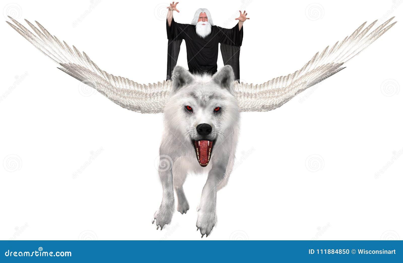 Lobo del vuelo, mago, magia, aislada