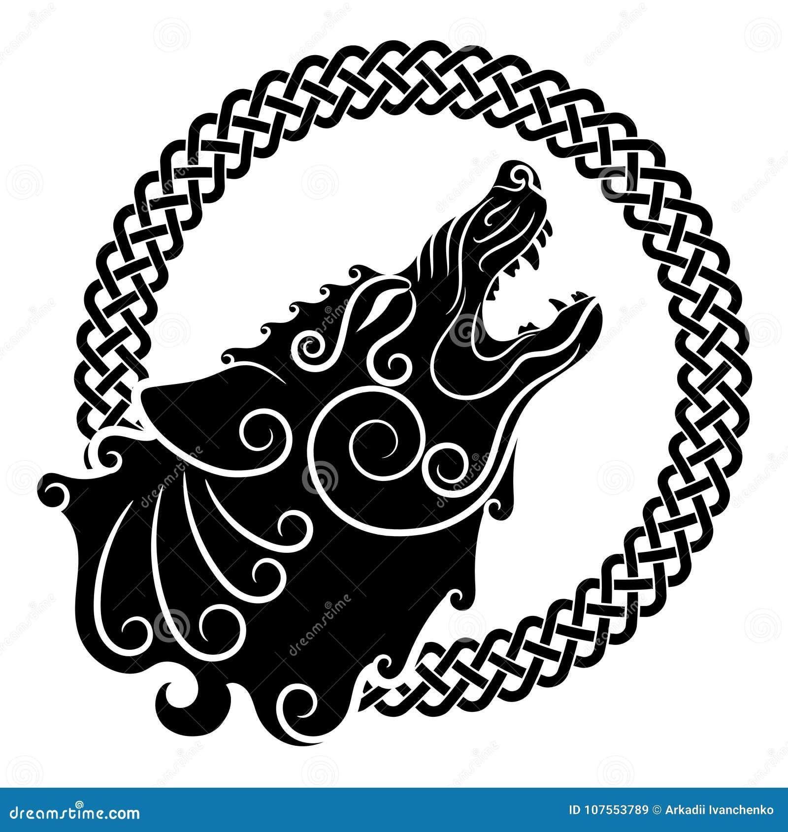 Lobo en de estilo celta, lobo del grito en el ornamento céltico