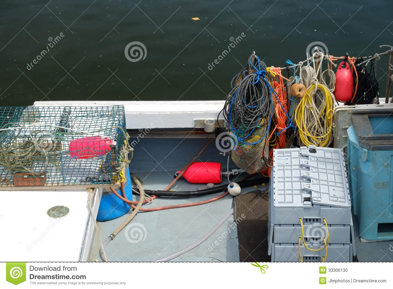 Lobster Boat Deck Stock Photo - Image: 33306130