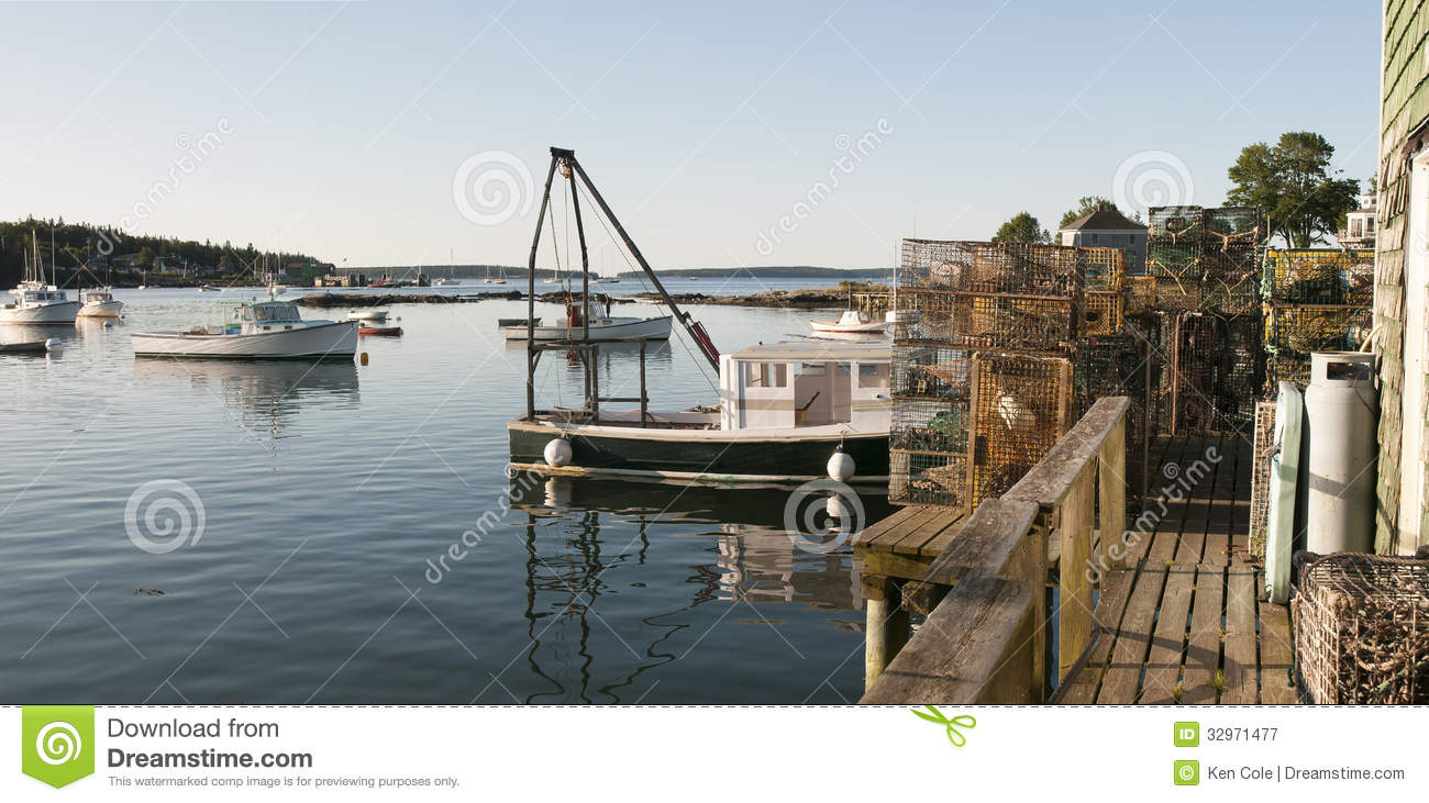 Lobster Boat And Pots On Wharf Royalty Free Stock ...