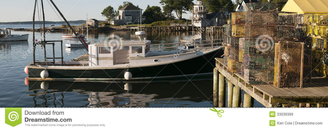 Lobster Boat And Traps On Wharf Royalty Free Stock Images - Image: 33039399