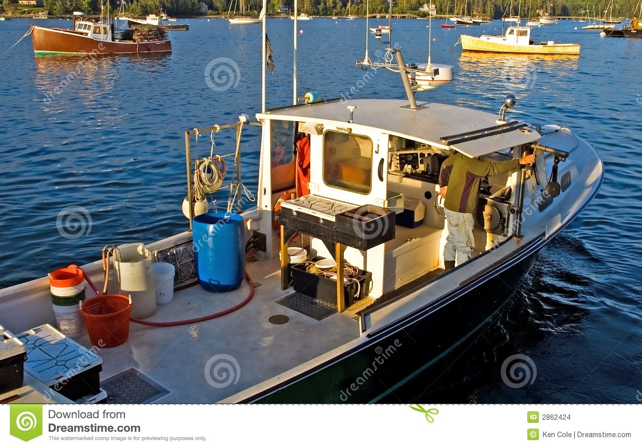 Lobster boat at work stock images image 2862424 for Maine out of state fishing license