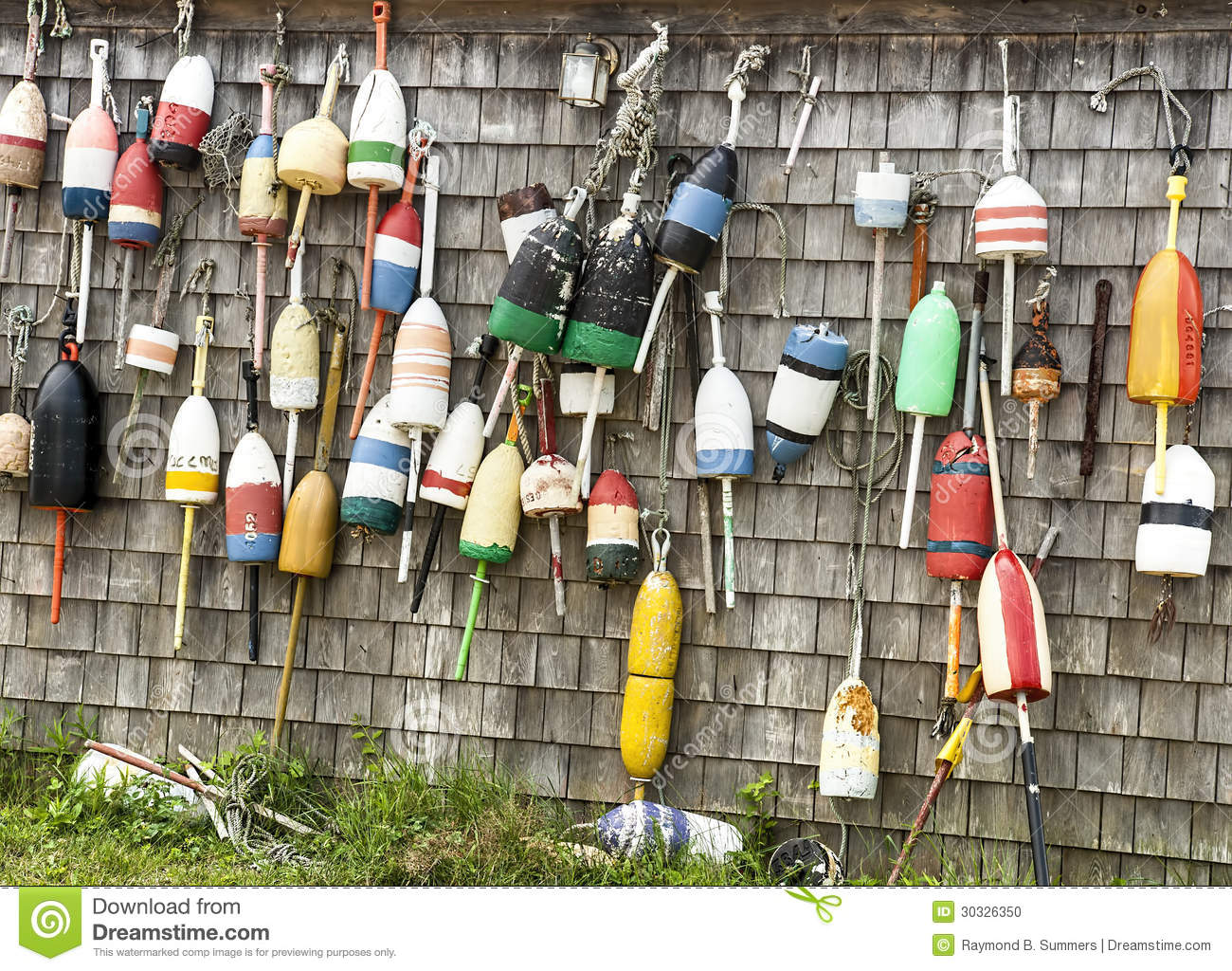 Lobster buoys and fishing shack stock photo image 30326350 for Who sells fishing license near me