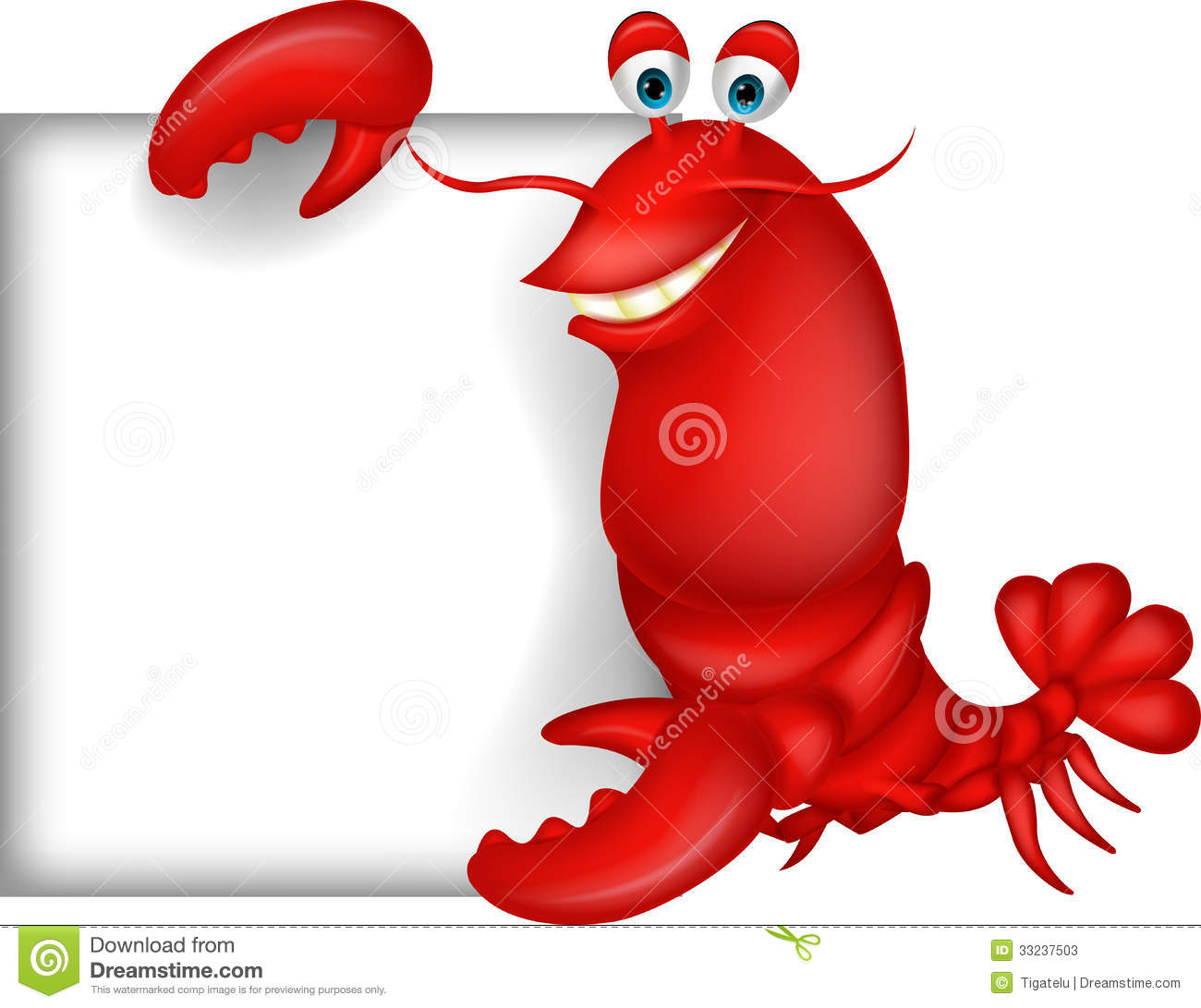 Lobster Cartoon With Blank Sign Stock Photos - Image: 33237503 Octopus Cartoon Images